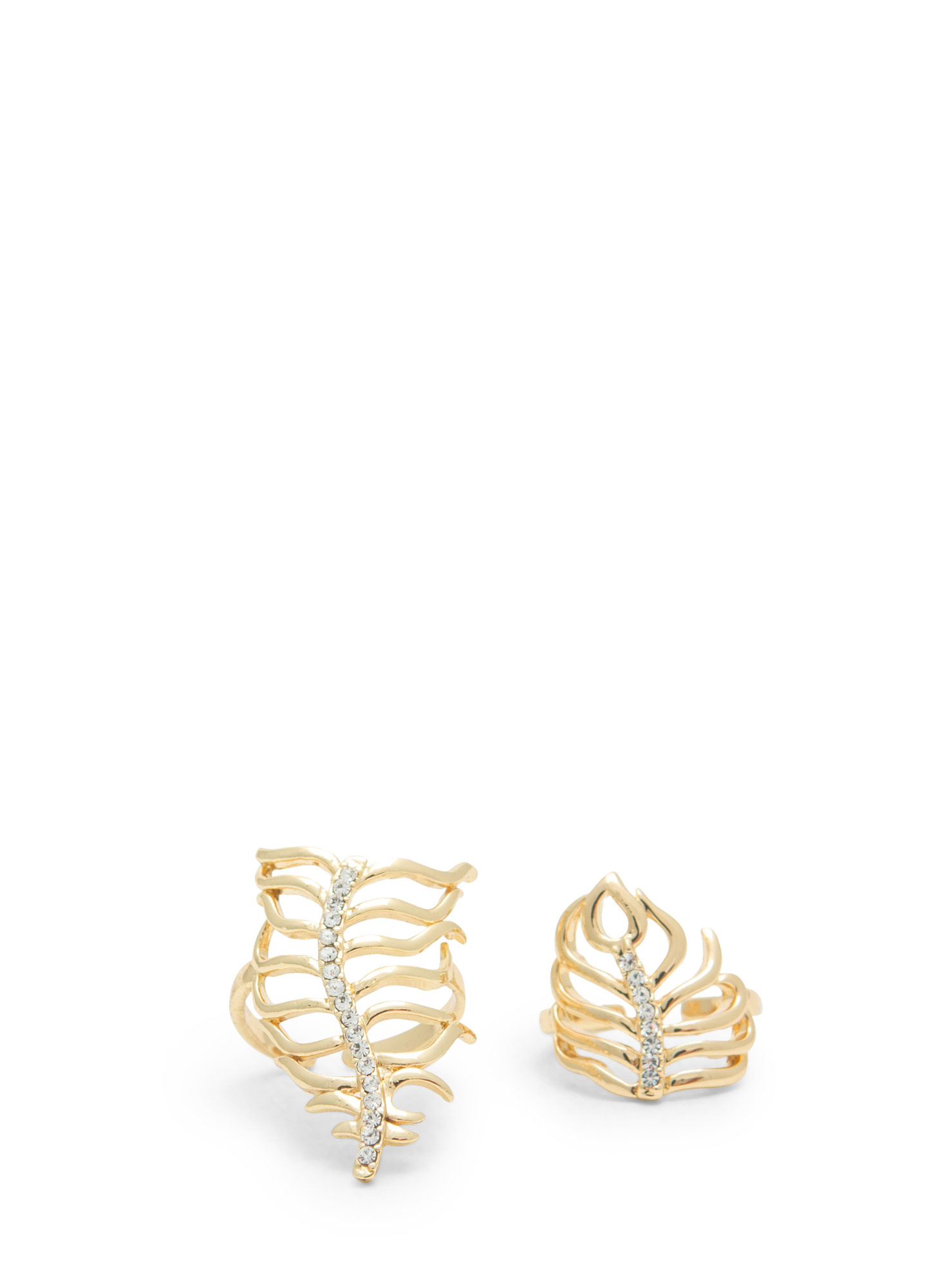 Wavy Palm Fronds Jeweled Ring Duo GOLD
