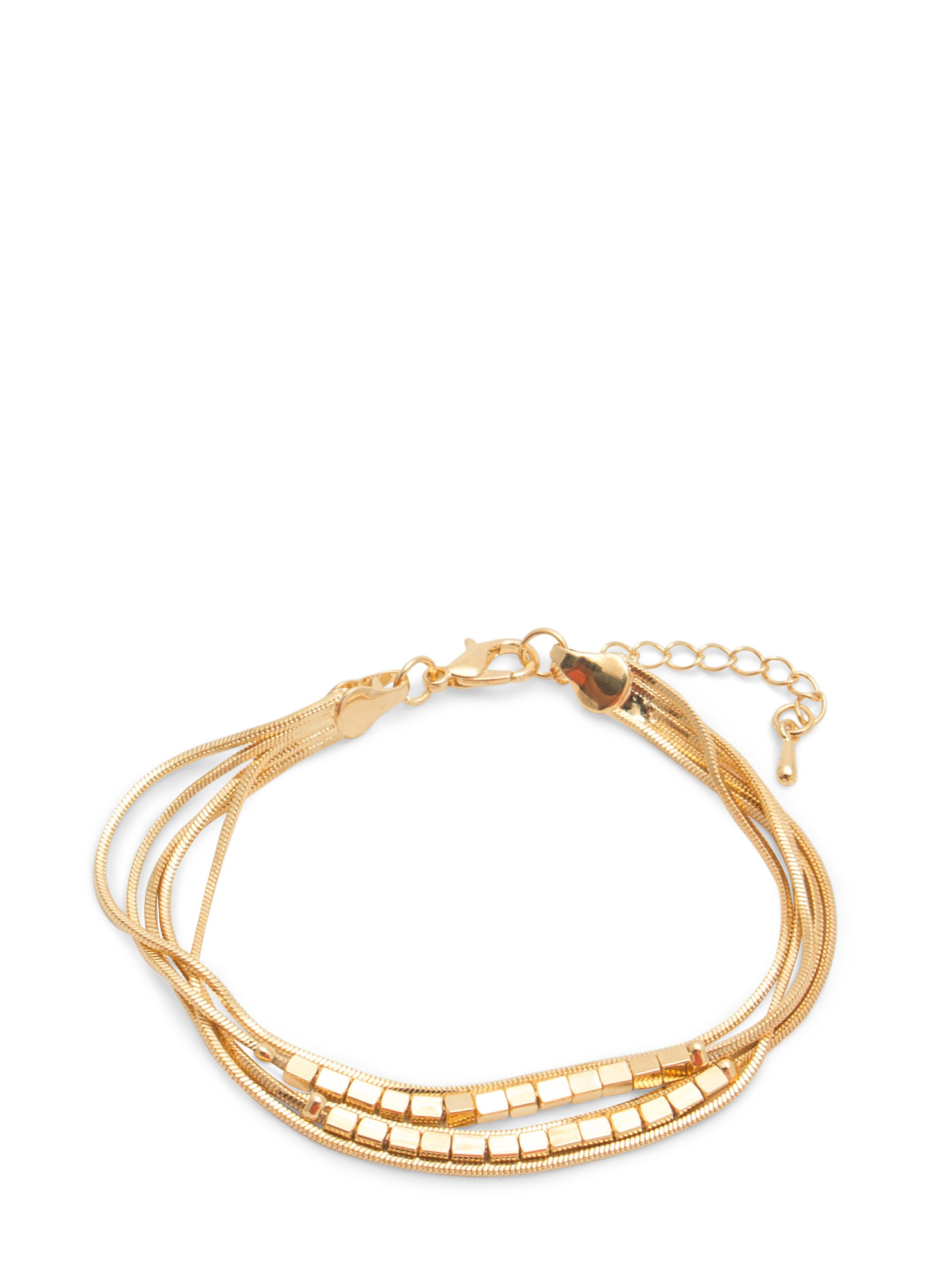 Block Bead Metallic Chains Bracelet GOLD