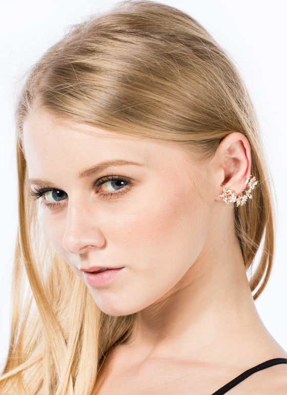 Jeweled Flowers Butterfly Ear Cuff GOLDCLEAR