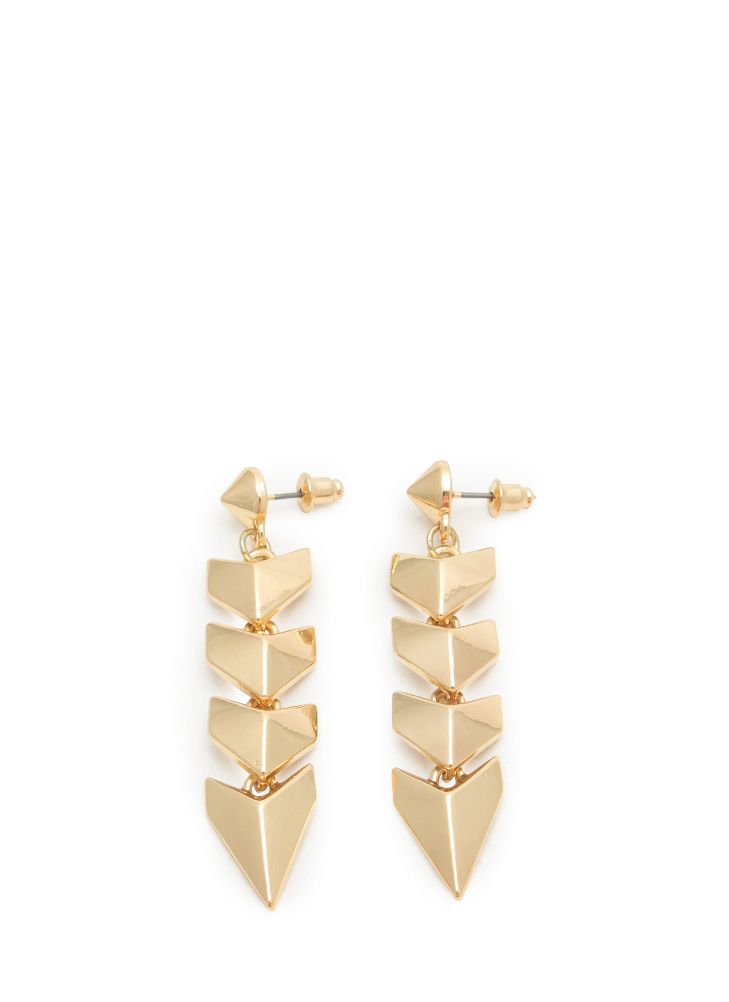 Spiky Cone Stud Chevron Earrings GOLD