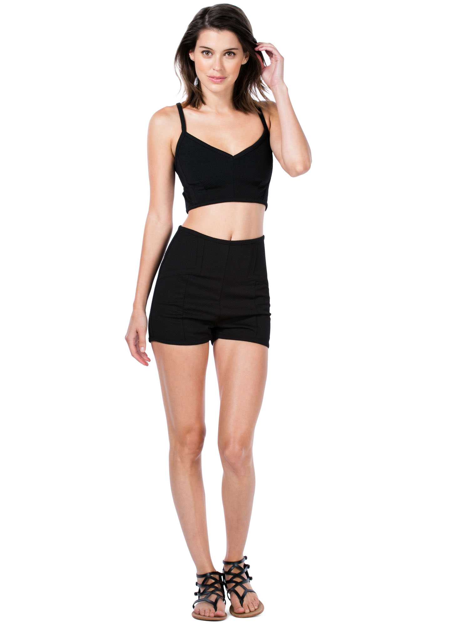 Texture-Savvy Strappy Cropped Top BLACK