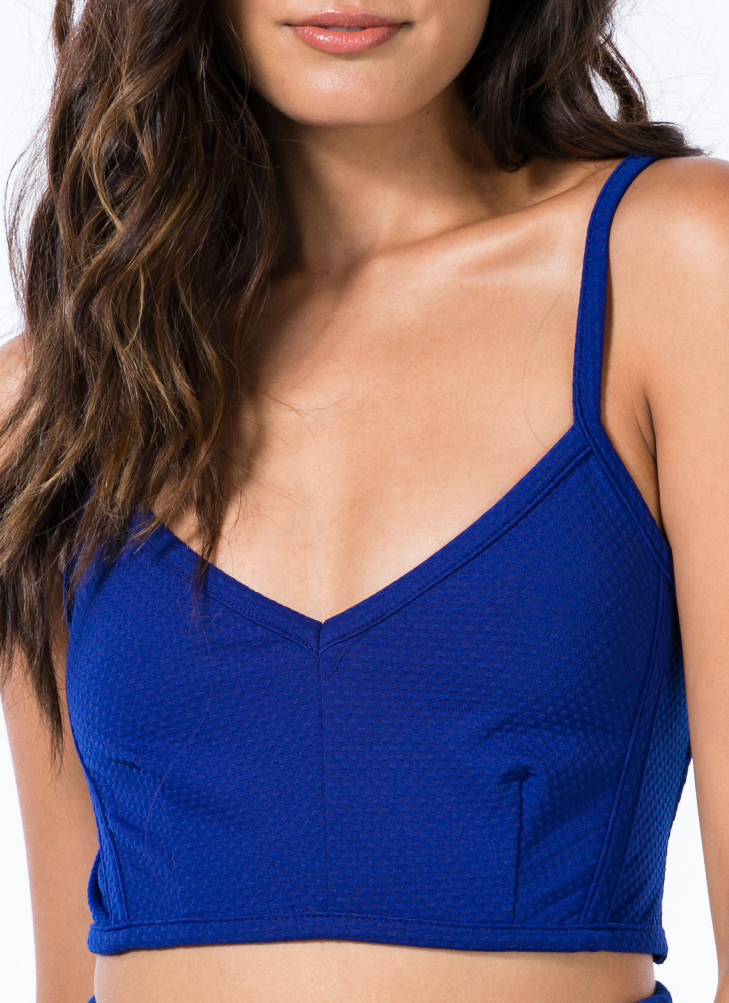 Texture-Savvy Strappy Cropped Top ROYAL