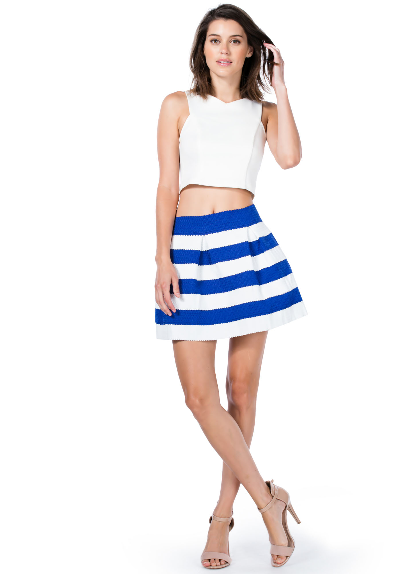 Striped Bandage Skater Skirt BLUE
