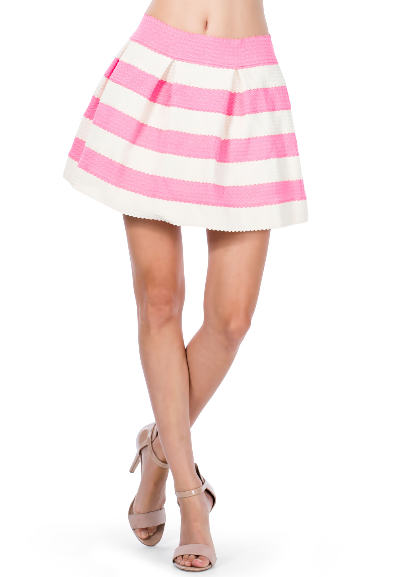 Striped Bandage Skater Skirt PINK