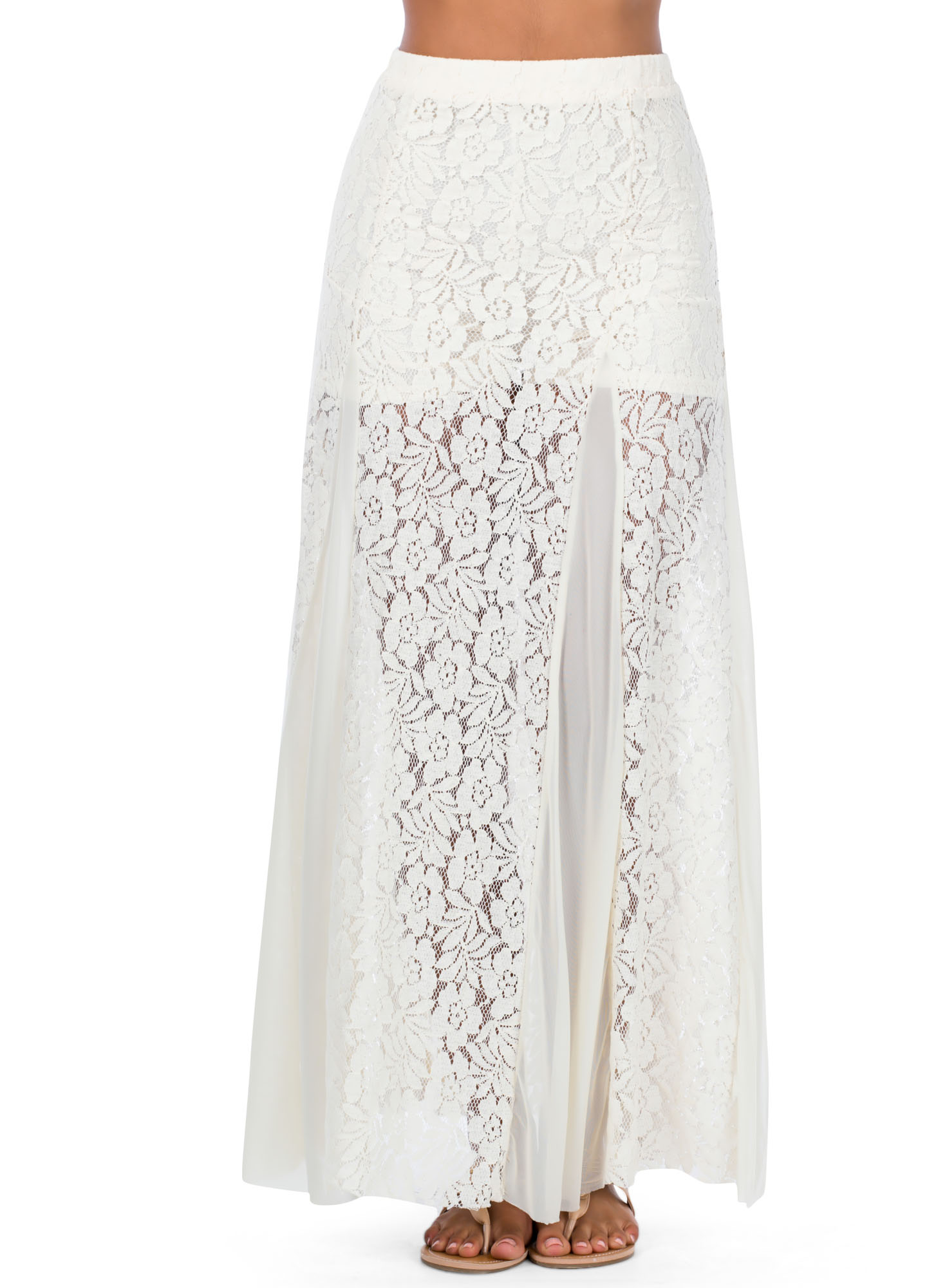 Floral Lace 'N Mesh Maxi Skirt NATURAL