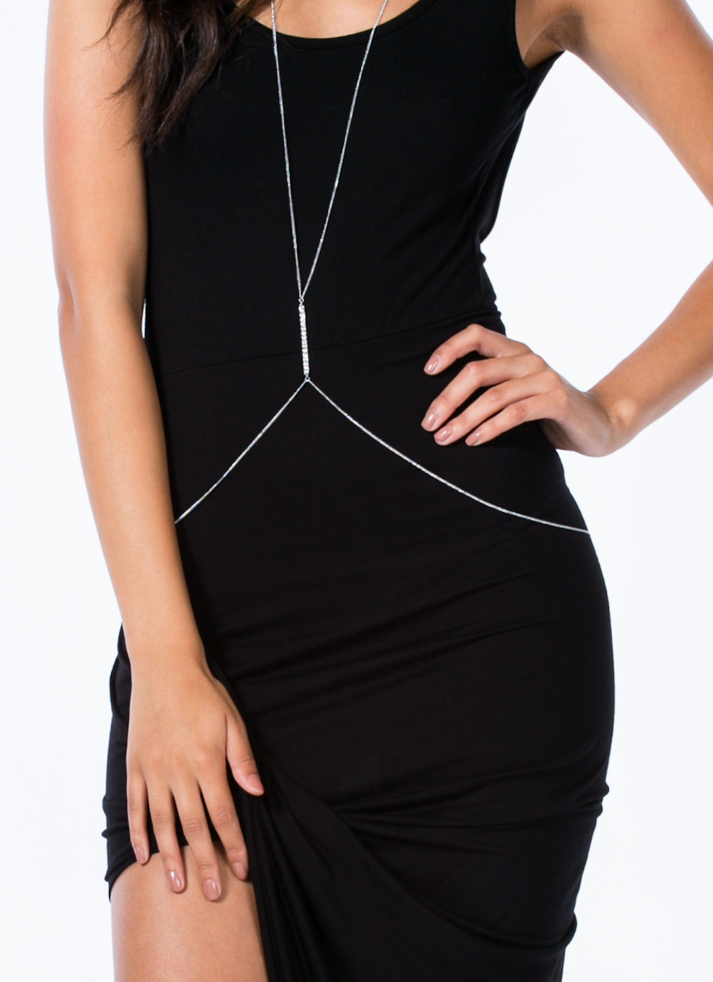 Take A Hike Asymmetrical Draped Dress BLACK
