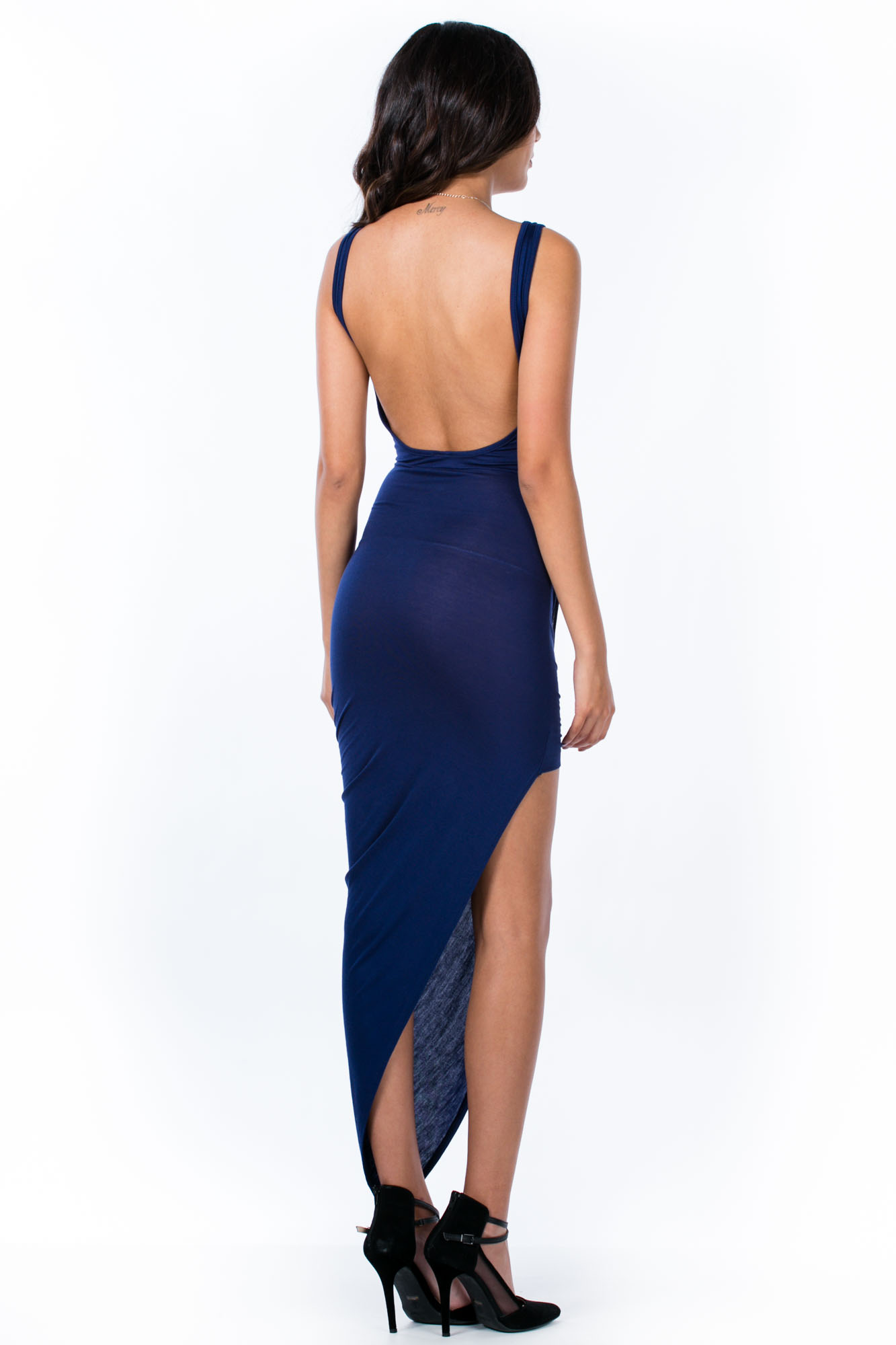 Take A Hike Asymmetrical Draped Dress NAVY
