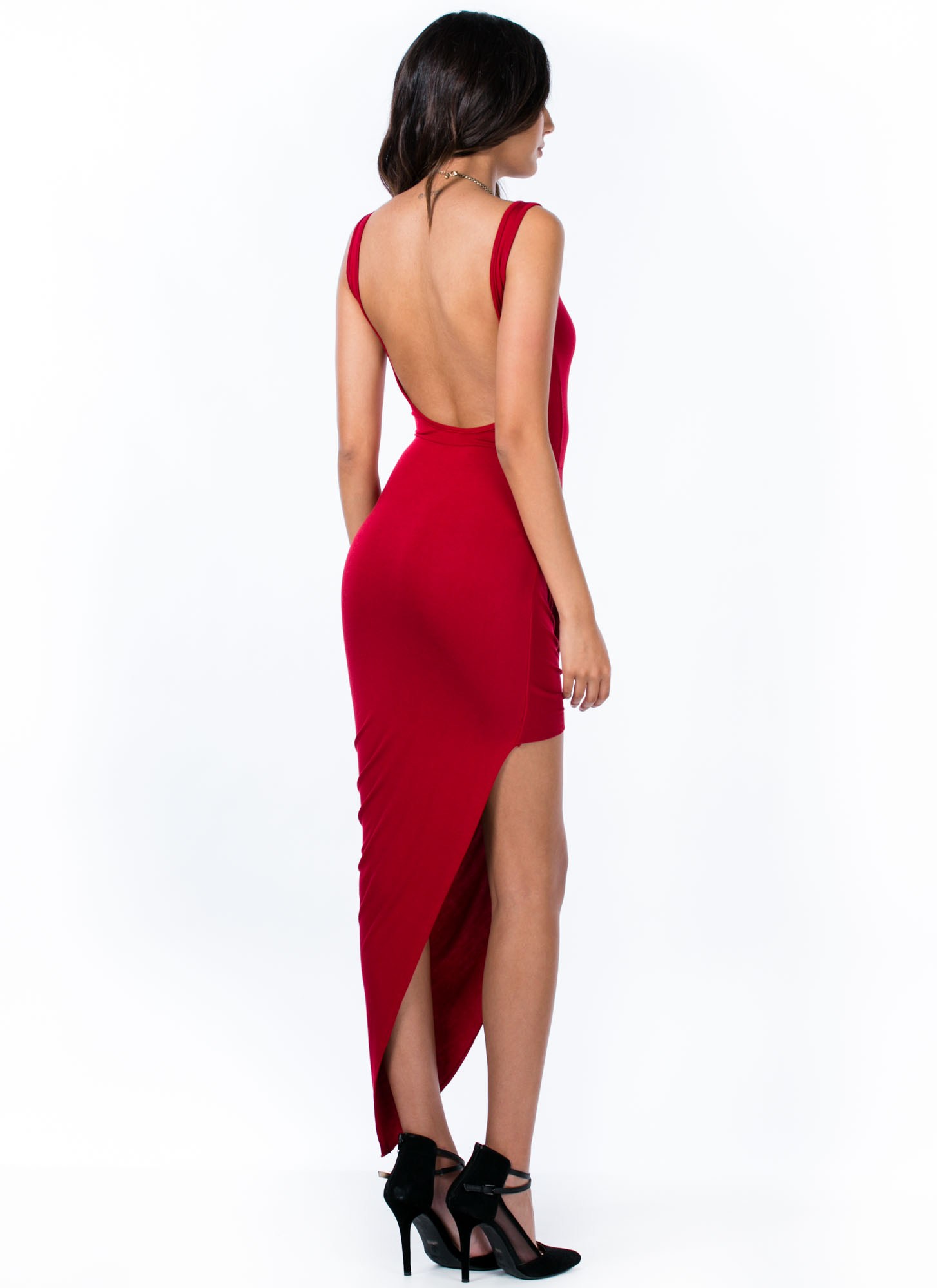 Take A Hike Asymmetrical Draped Dress RED
