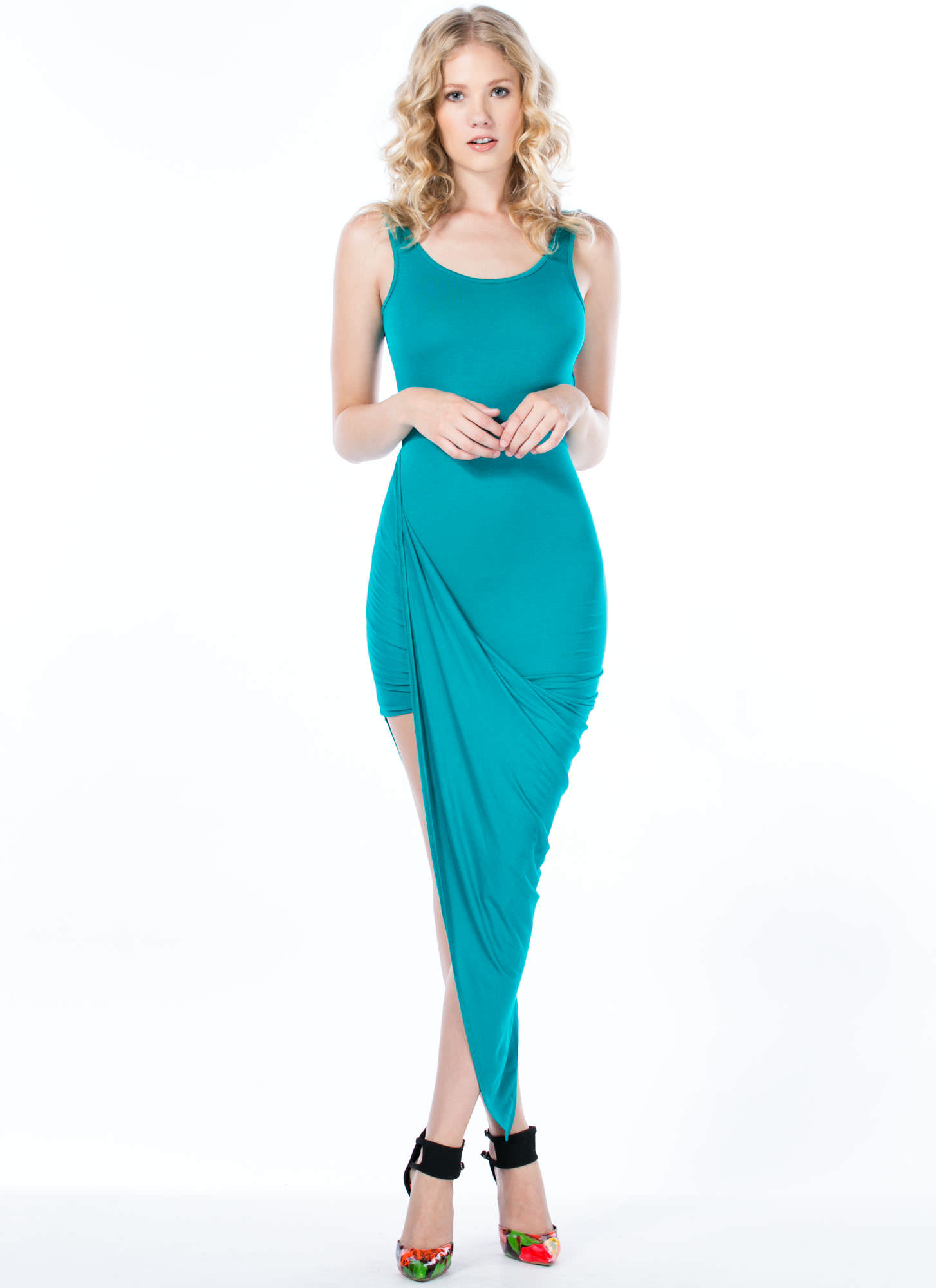 Take A Hike Asymmetrical Draped Dress TEAL