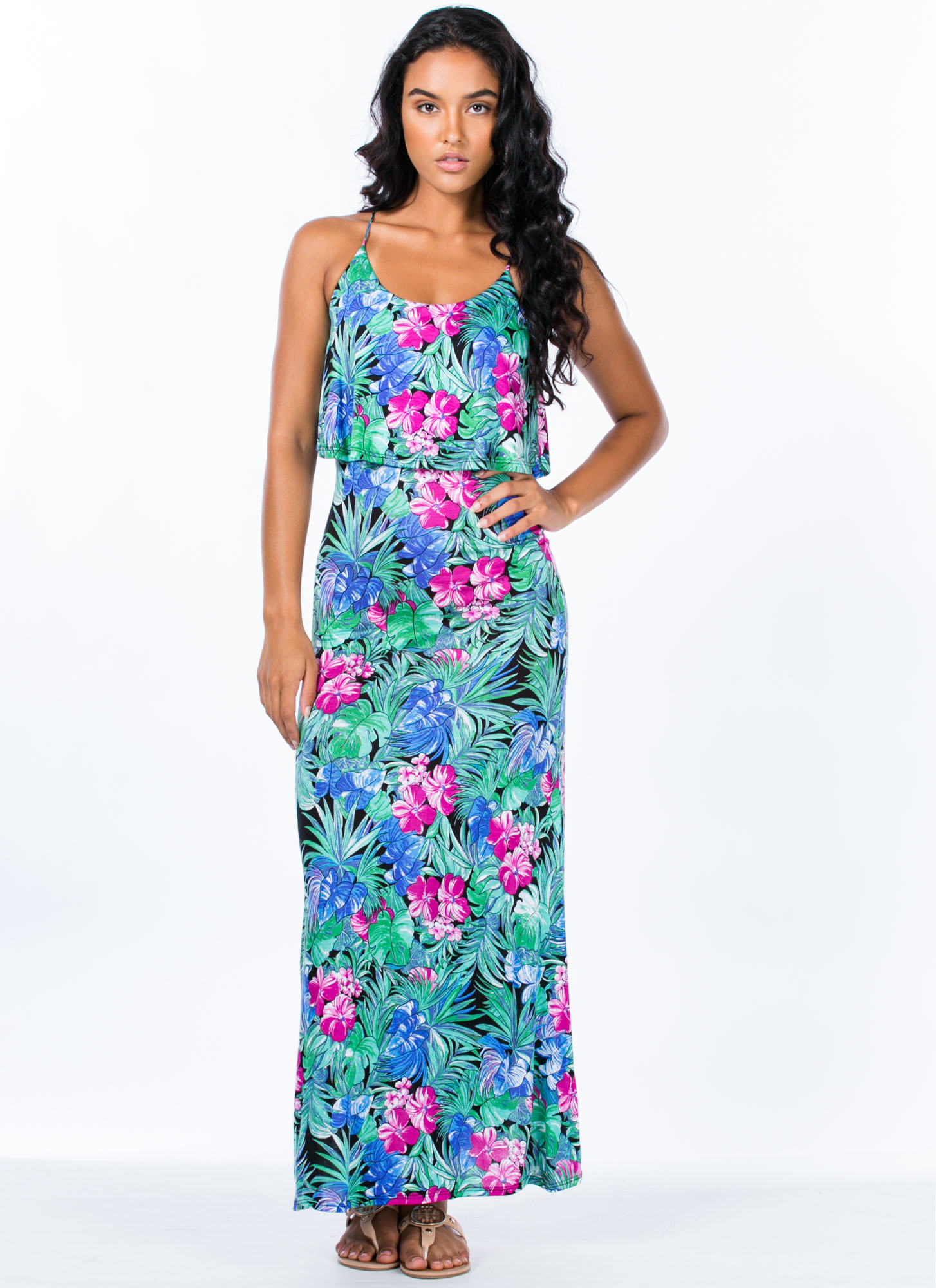 Tropical Nights Tiered Maxi Dress GREENMULTI