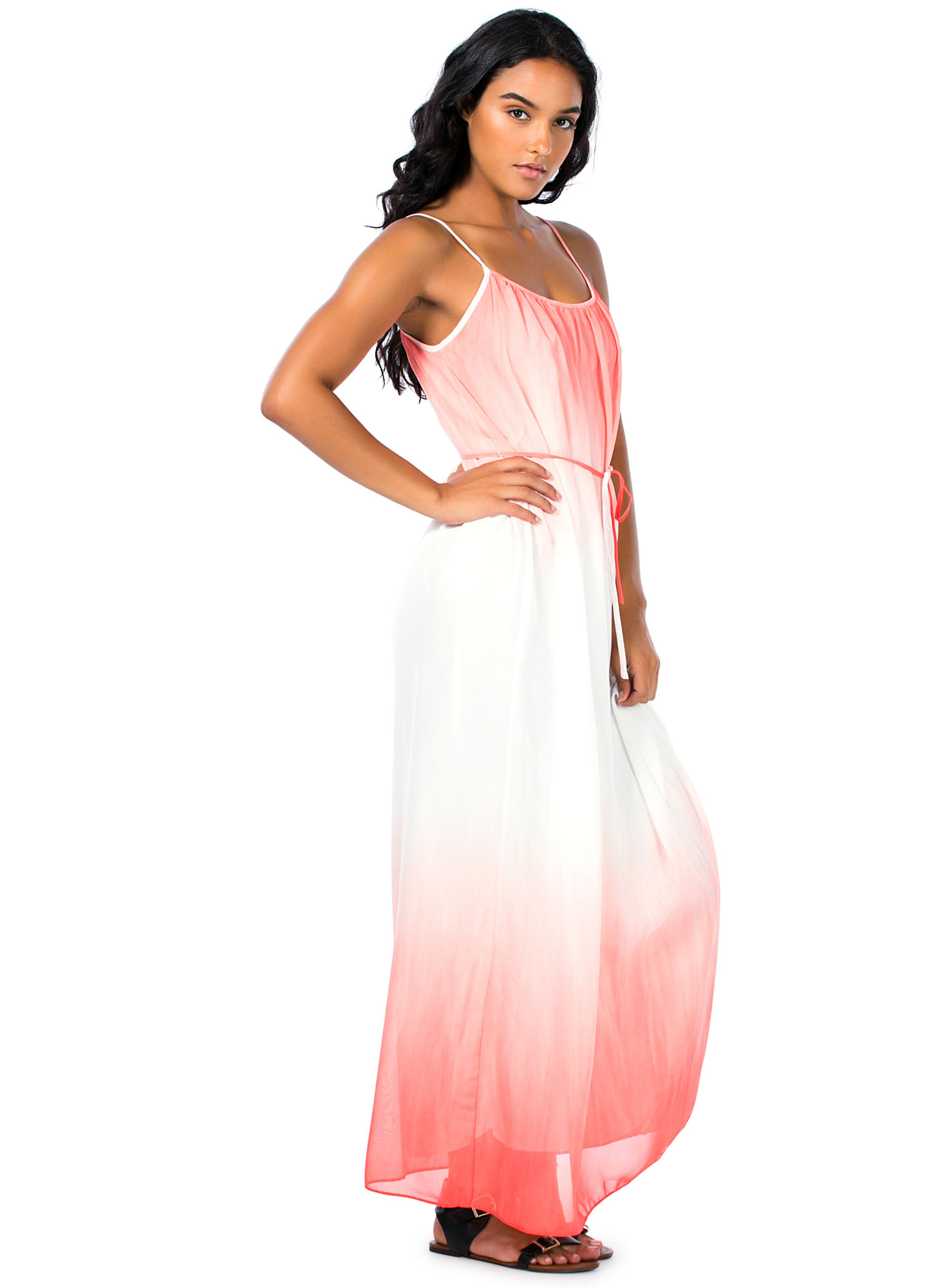 Dip-Dye Chiffon Maxi Dress CORAL