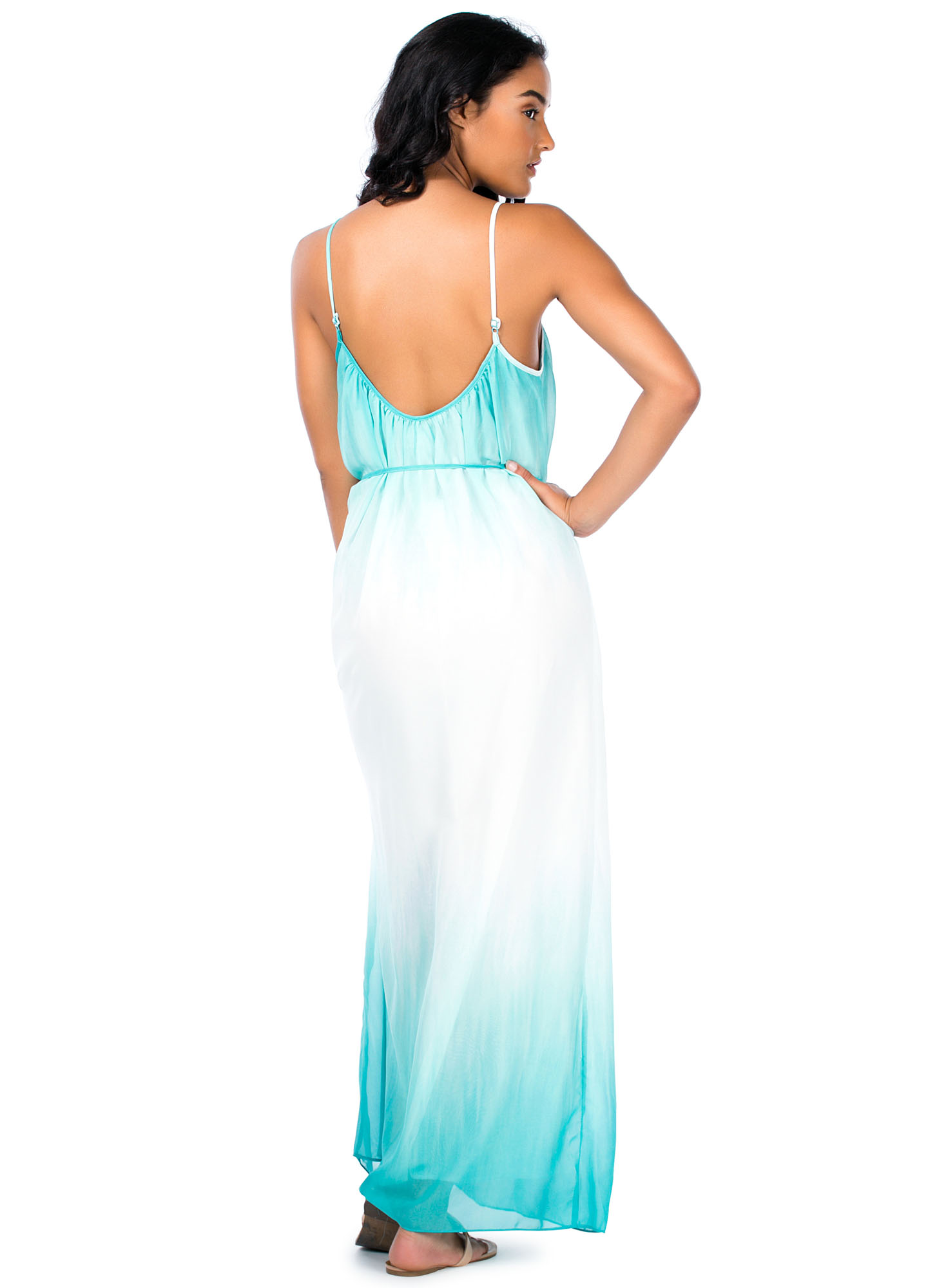 Dip-Dye Chiffon Maxi Dress MINT
