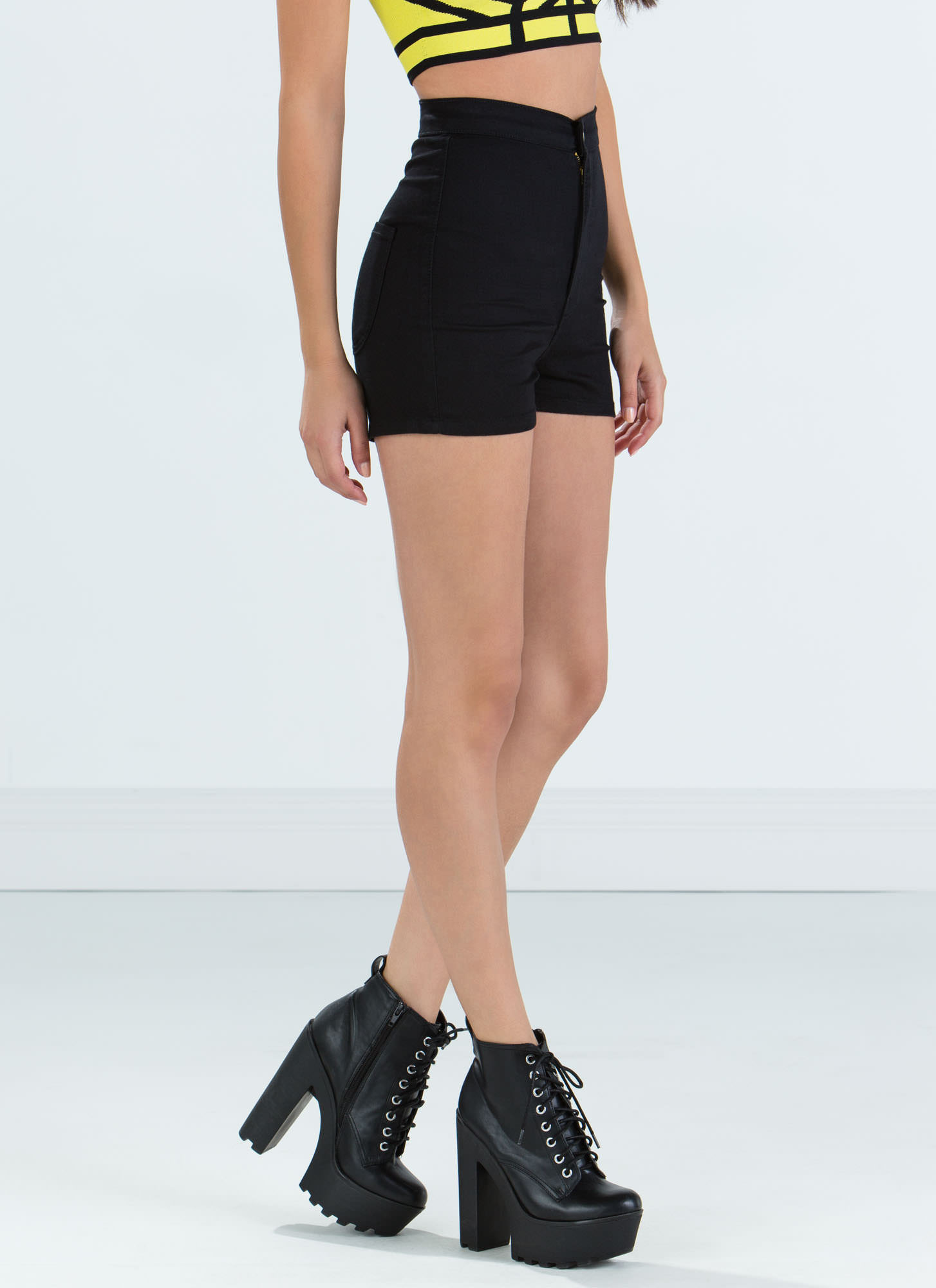 Solid Foundation High-Waisted Shorts BLACK