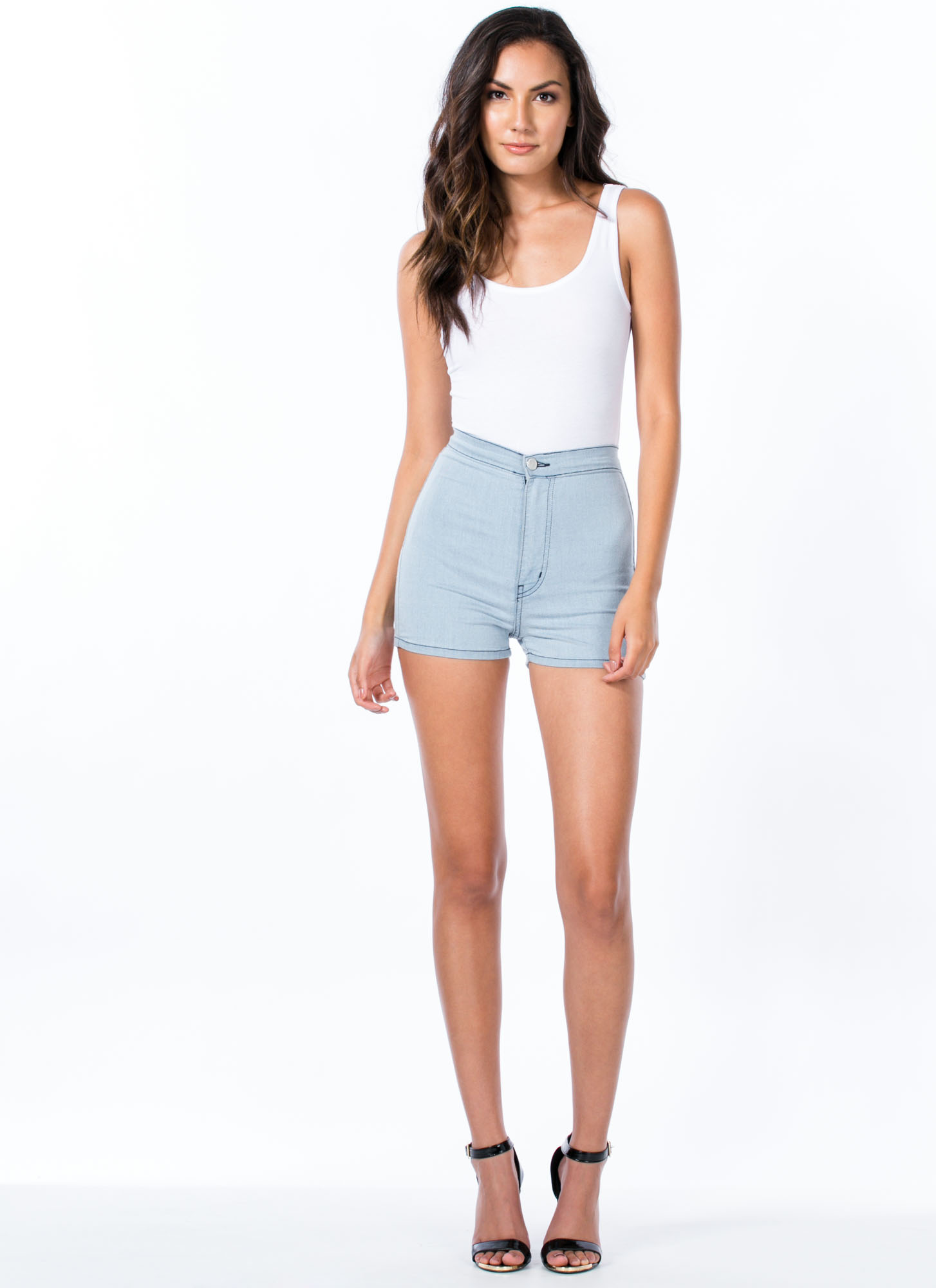 Solid Foundation High-Waisted Shorts LTBLUE
