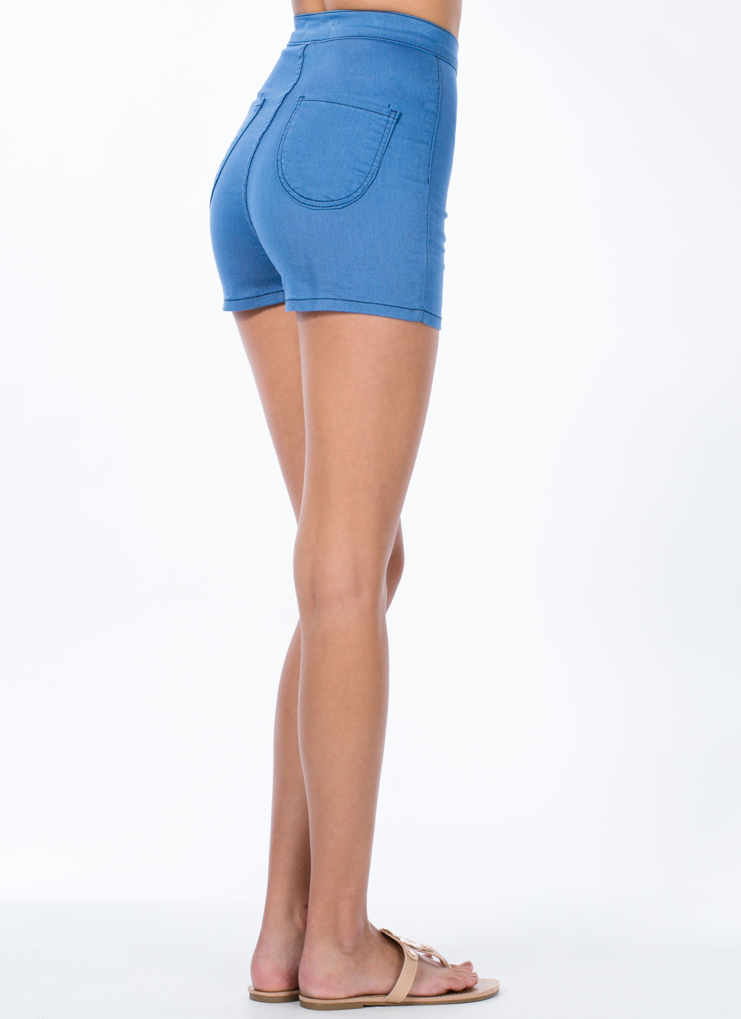 Solid Foundation High-Waisted Shorts MEDBLUE