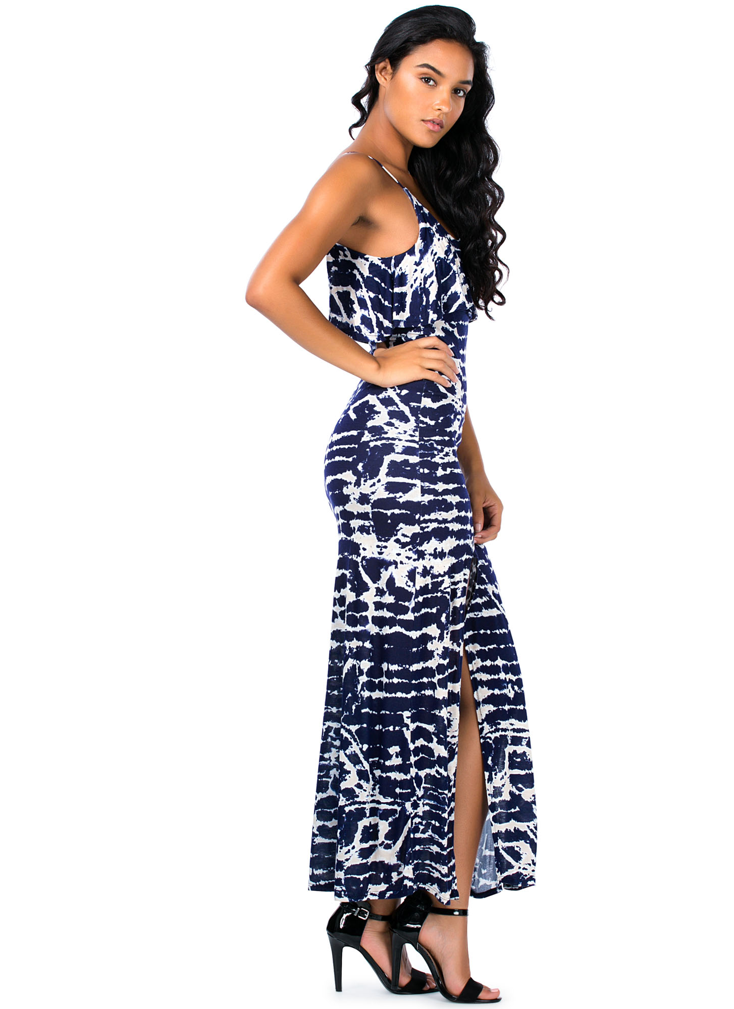 Tie-Dye For Tiered Double Slit Maxi NAVY