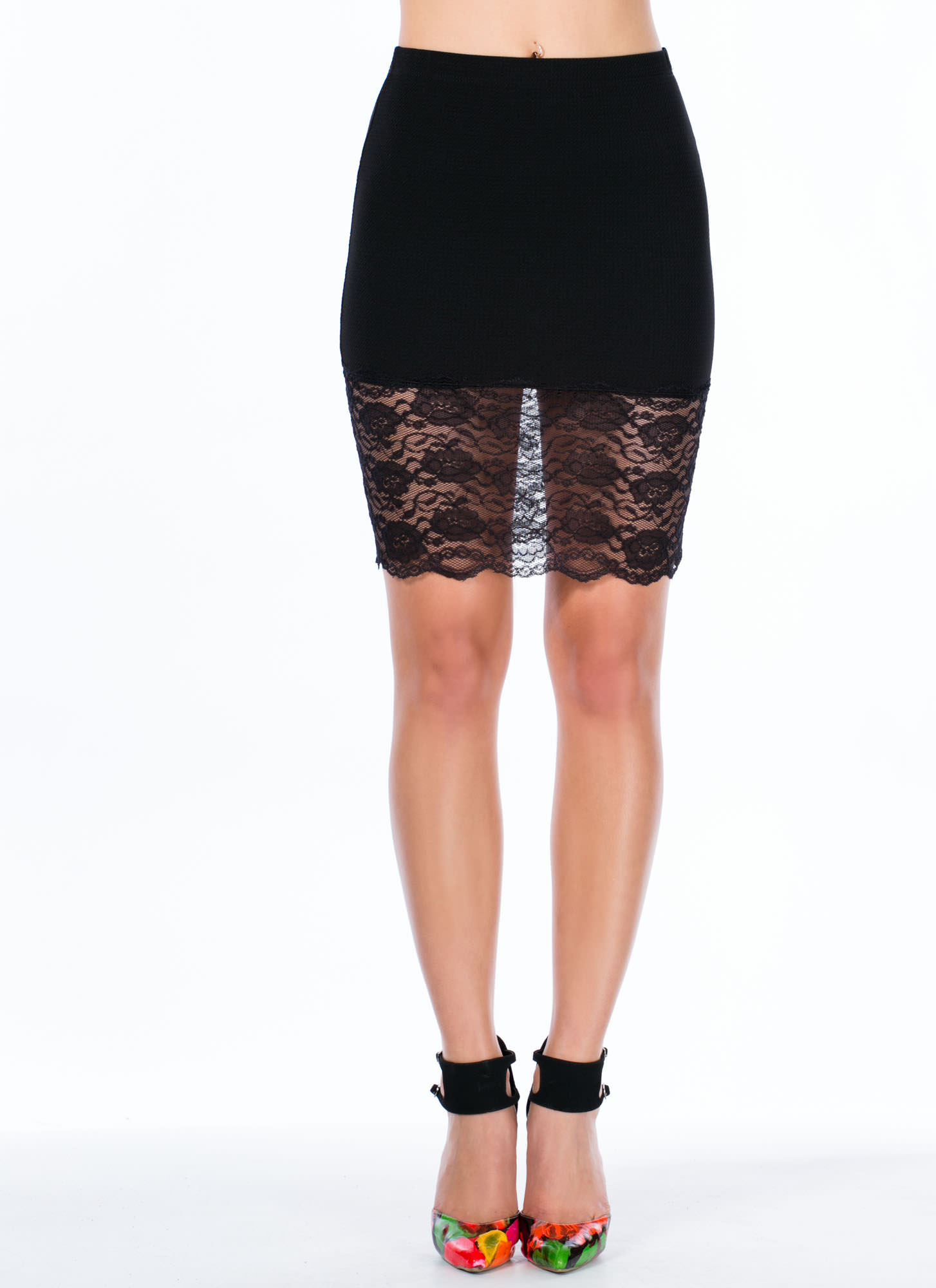Sheer And There Floral Lace Hem Skirt BLACK
