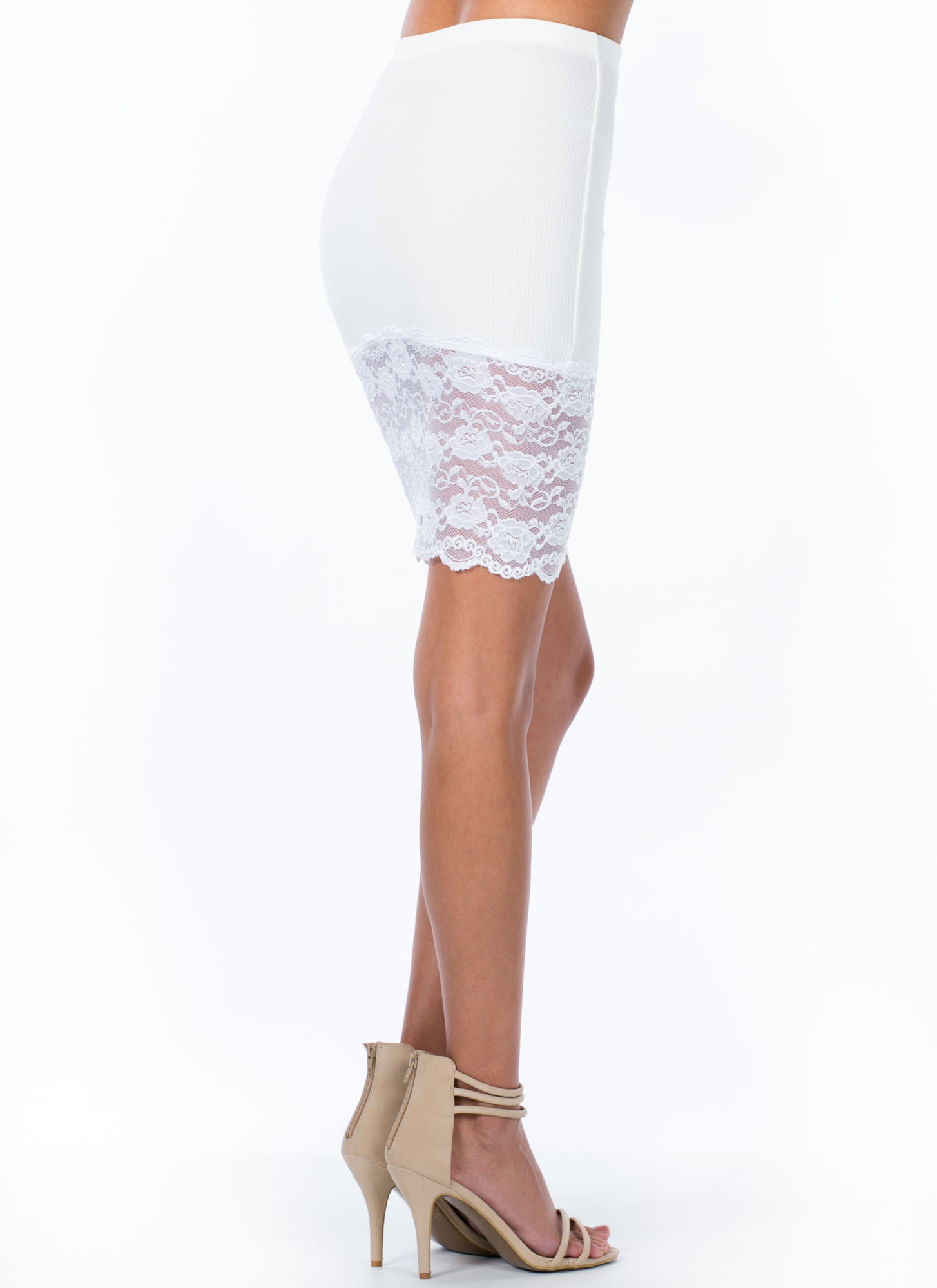 Sheer And There Floral Lace Hem Skirt WHITE