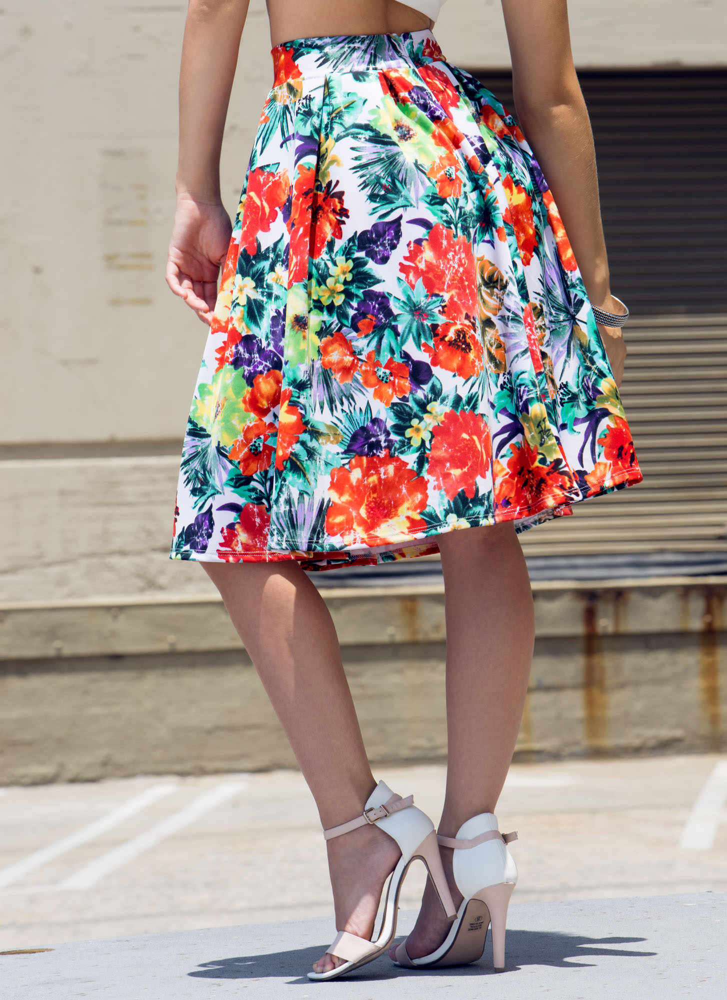 Floral Fixation Tropical A-Line Skirt WHITEMULTI