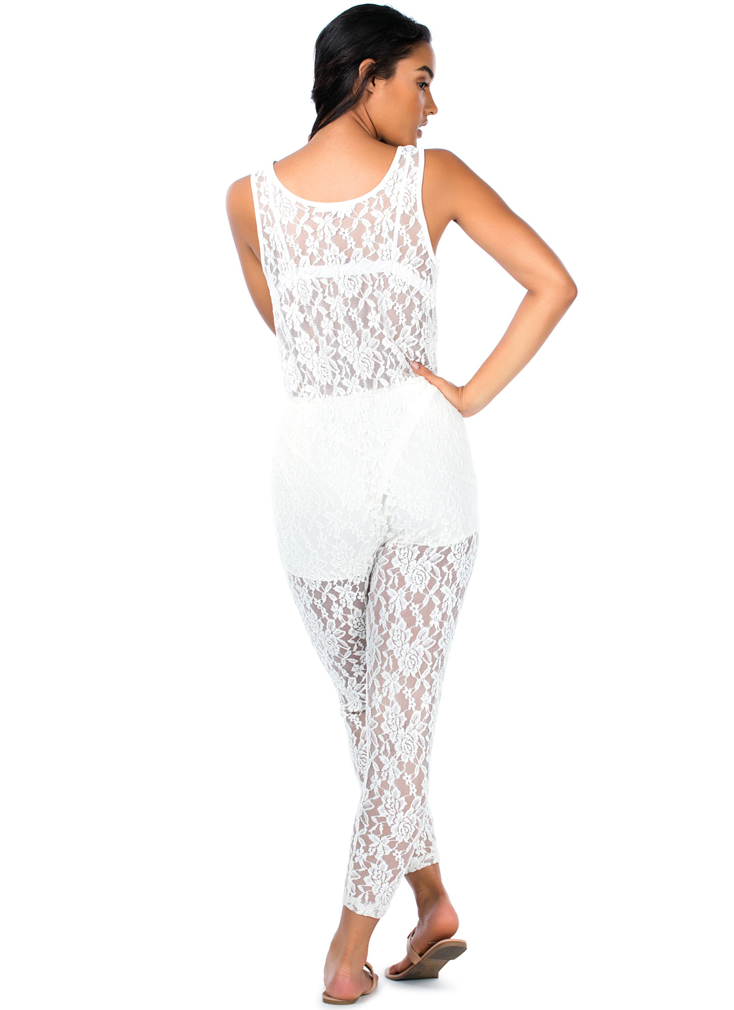 Better Lace Than Never Sheer Jumpsuit WHITE