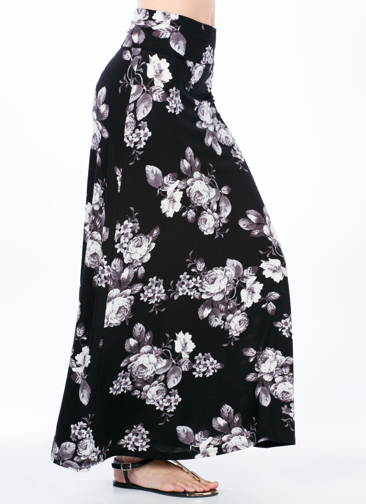 Rose Print Foldover Maxi Skirt BLACK