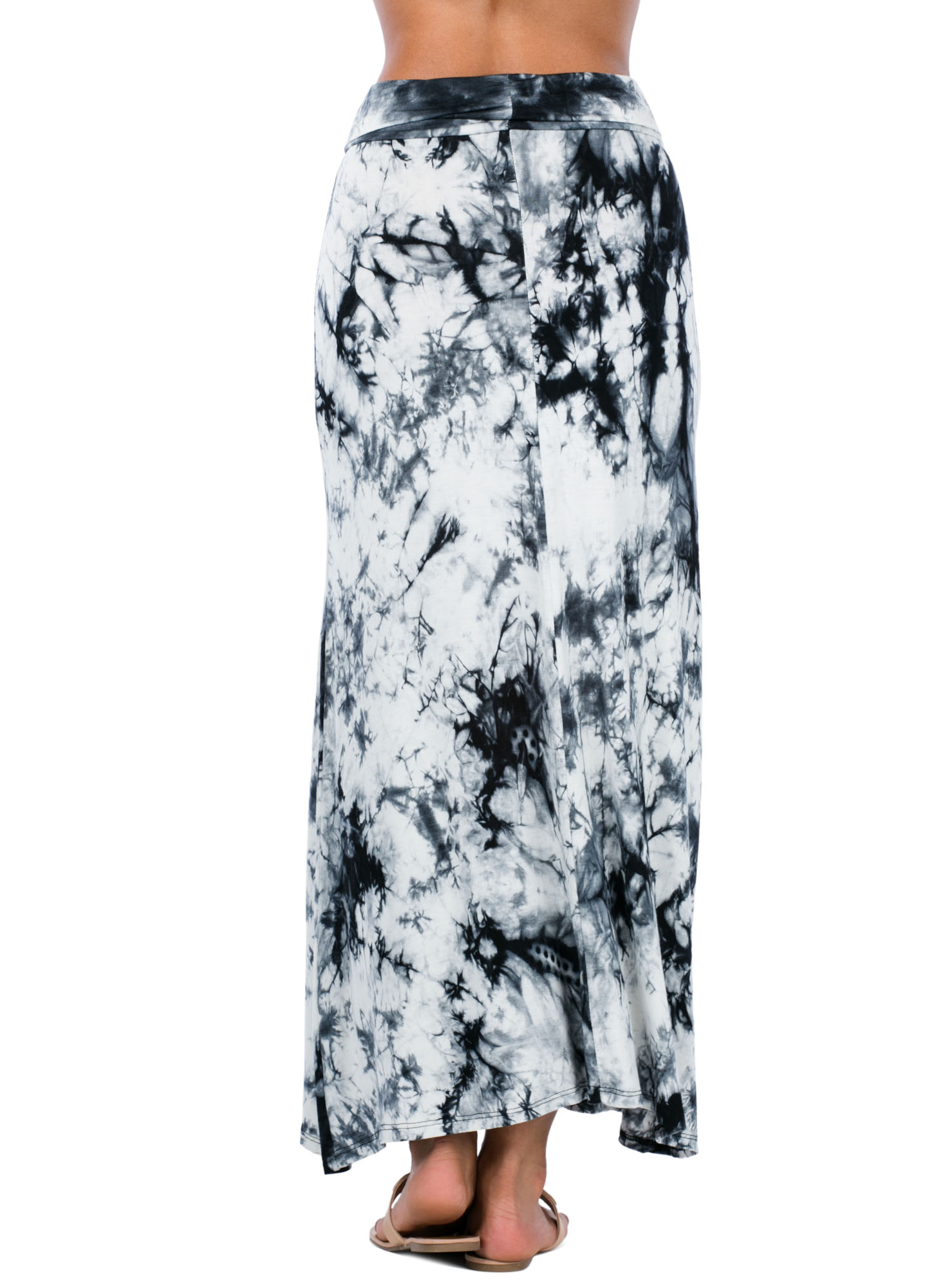 Under The Boardwalk Tie-Dye Maxi Skirt GREY