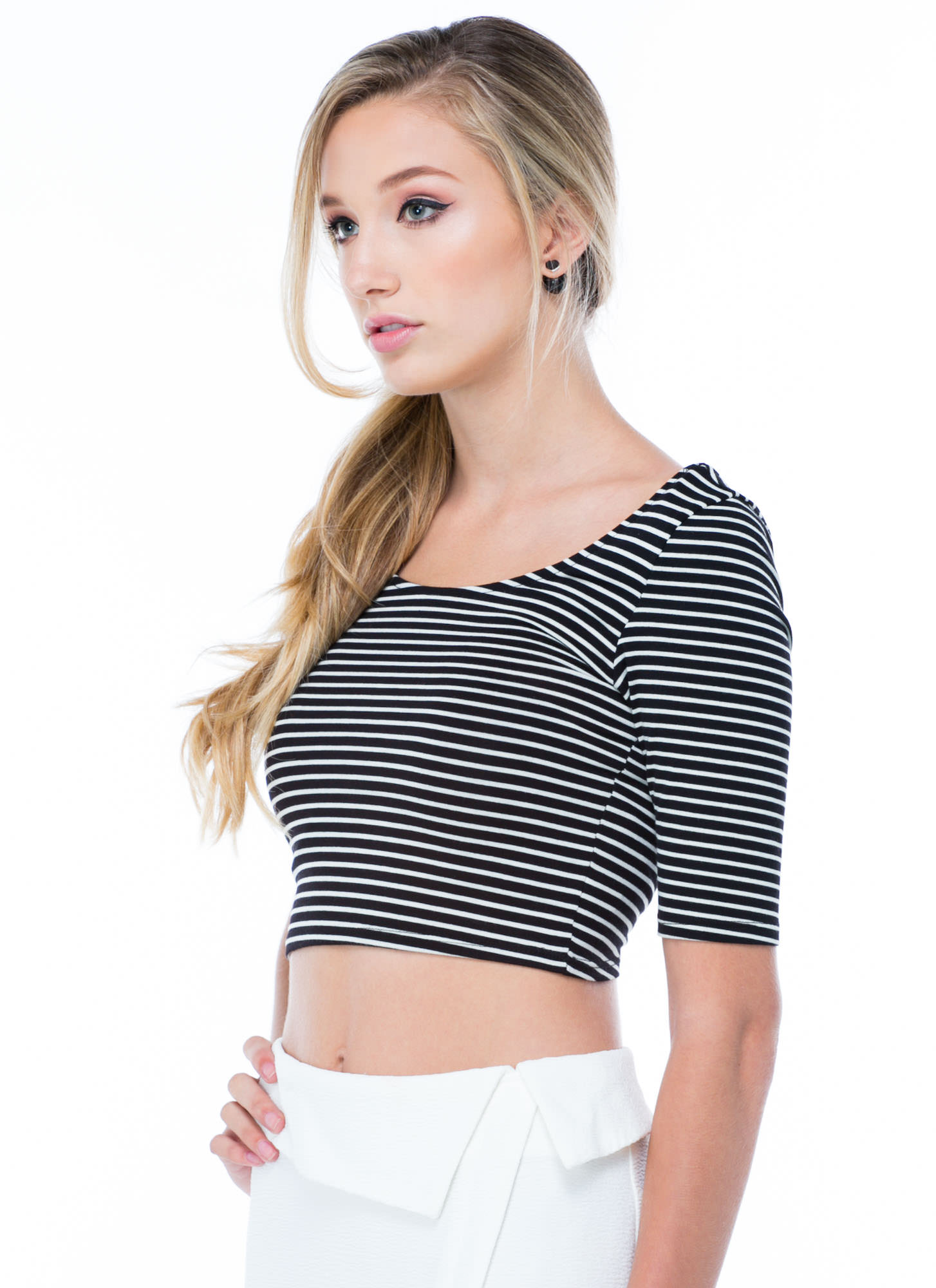 Stripe That Three-Quarter Cropped Top BLKWHT