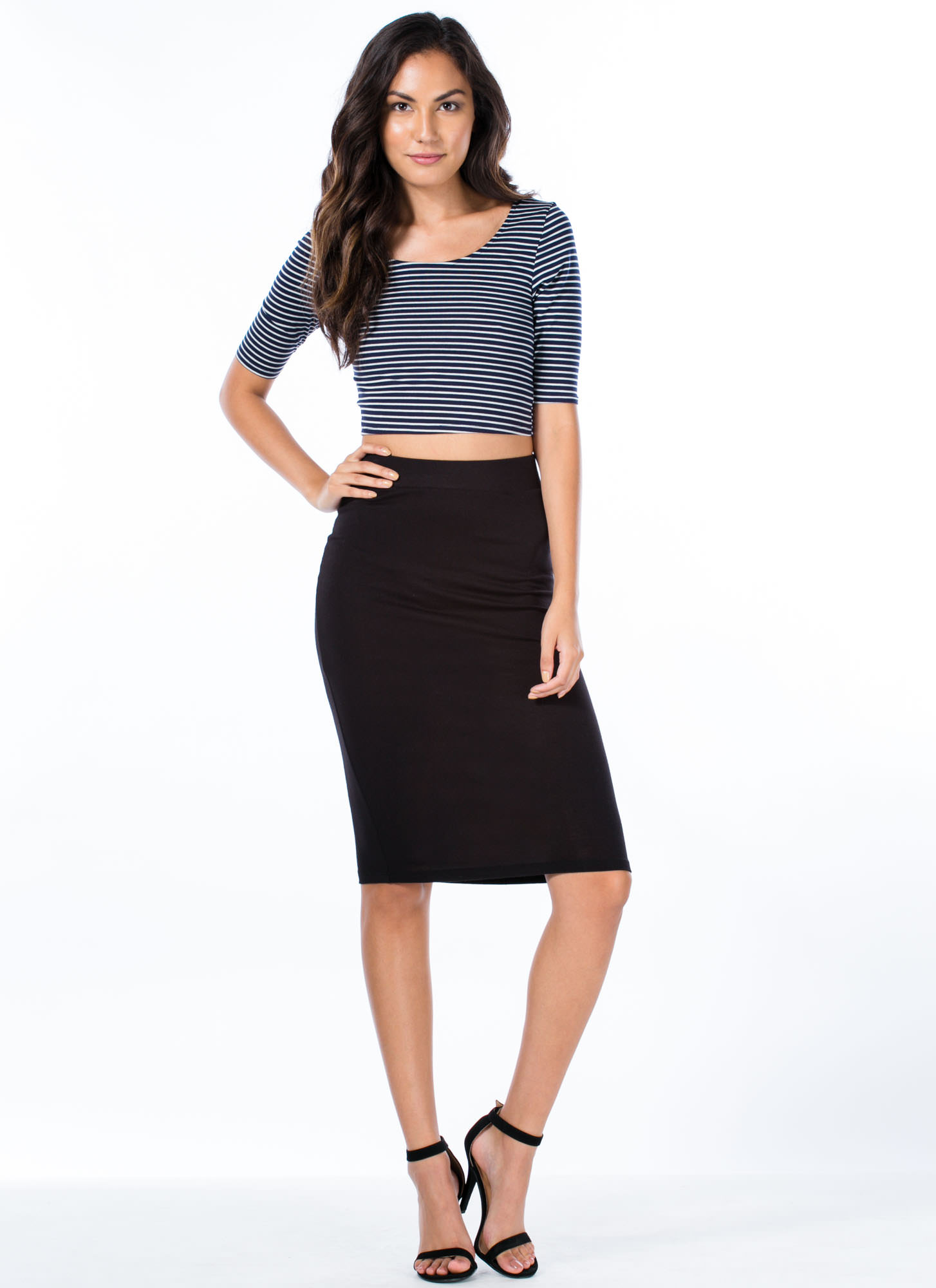 Stripe That Three-Quarter Cropped Top NAVYWHITE