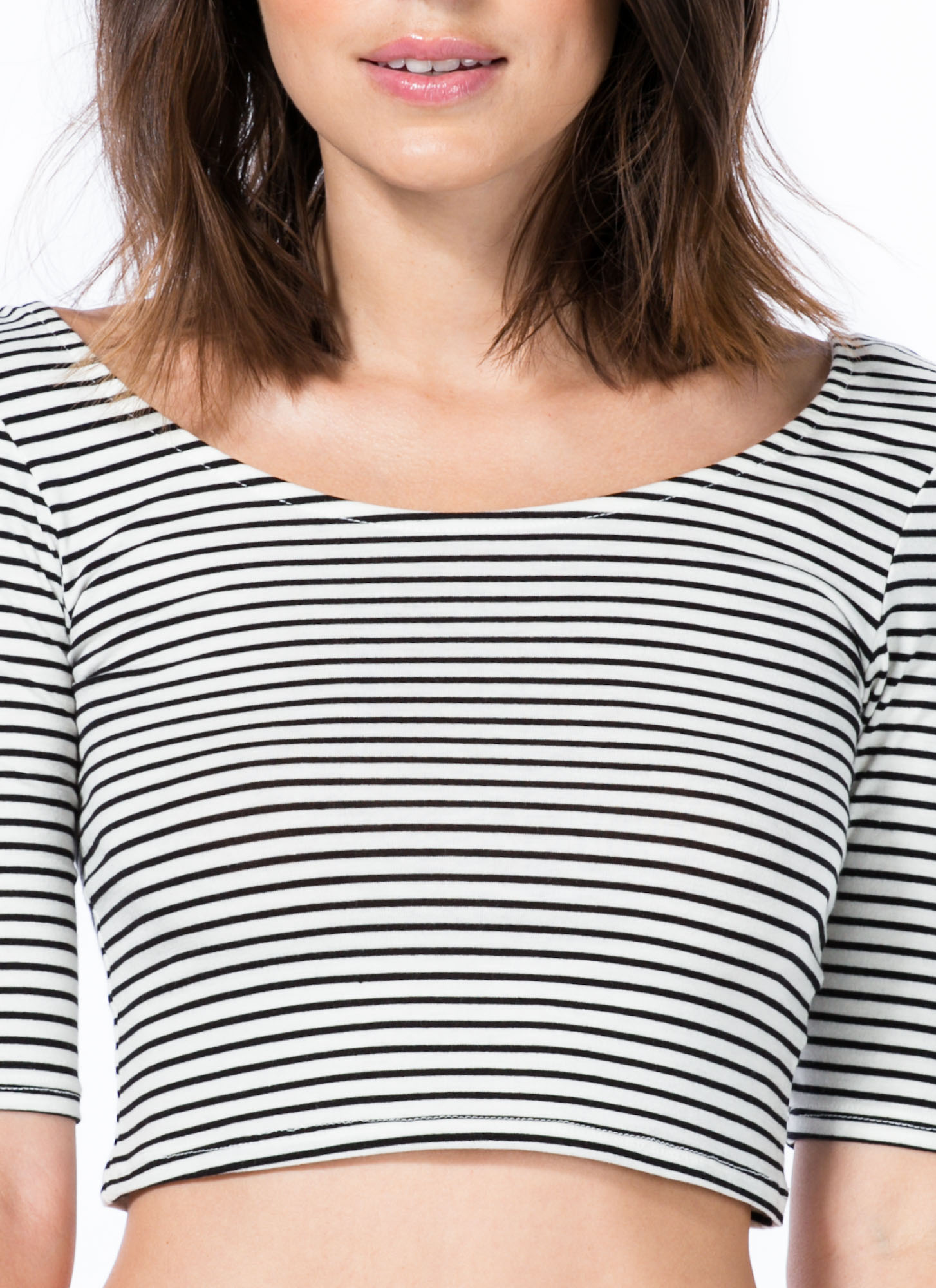 Stripe That Three-Quarter Cropped Top WHITEBLACK