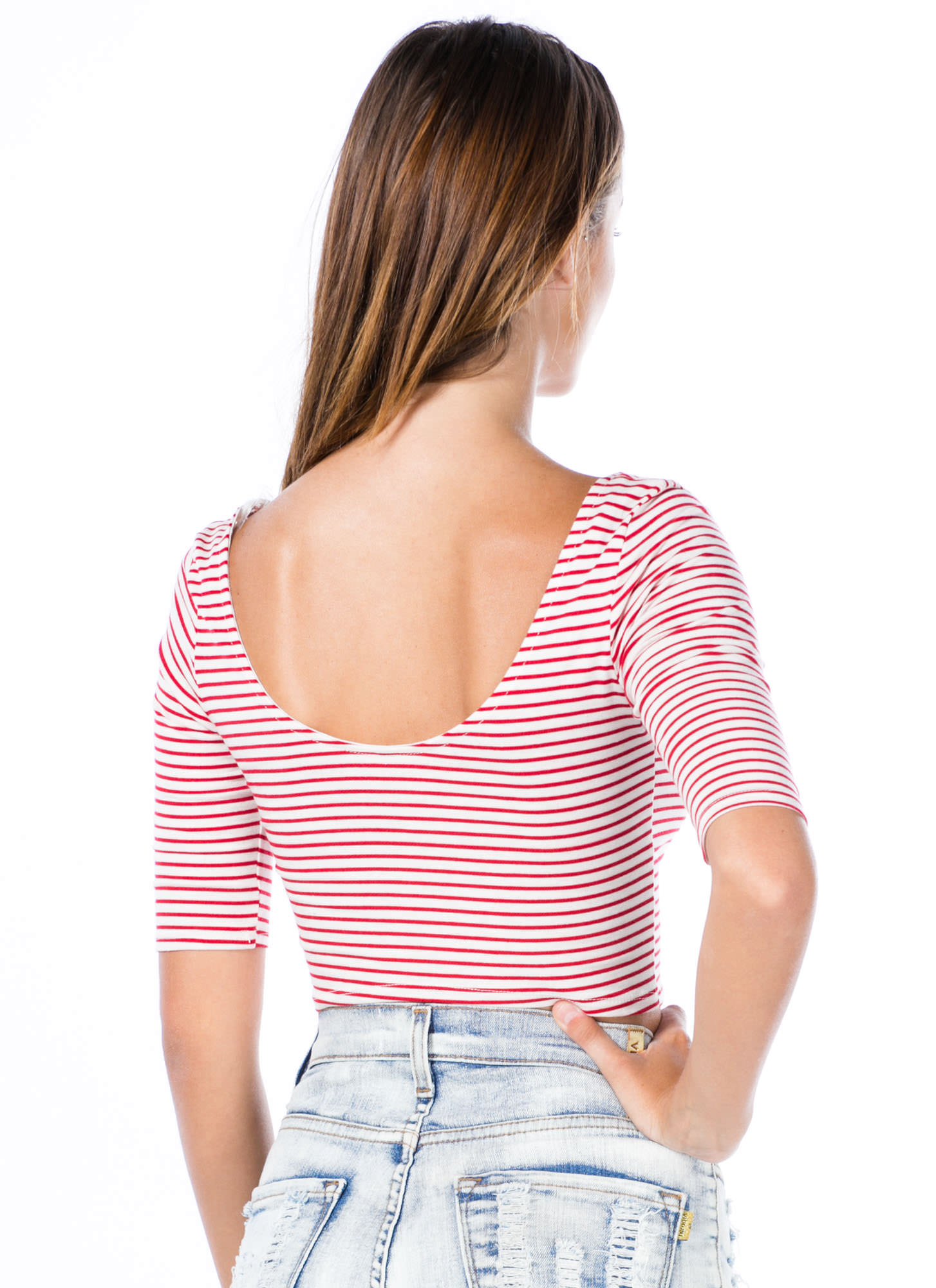 Stripe That Three-Quarter Cropped Top WHTRED