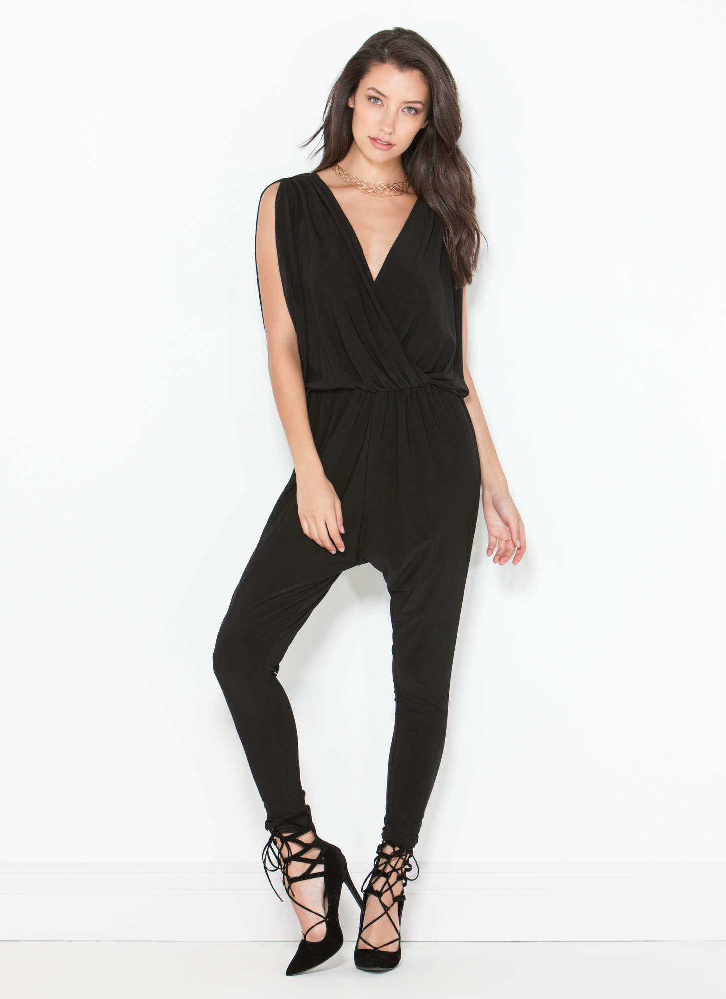 Game Changer Surplice Dolman Jumpsuit BLACK