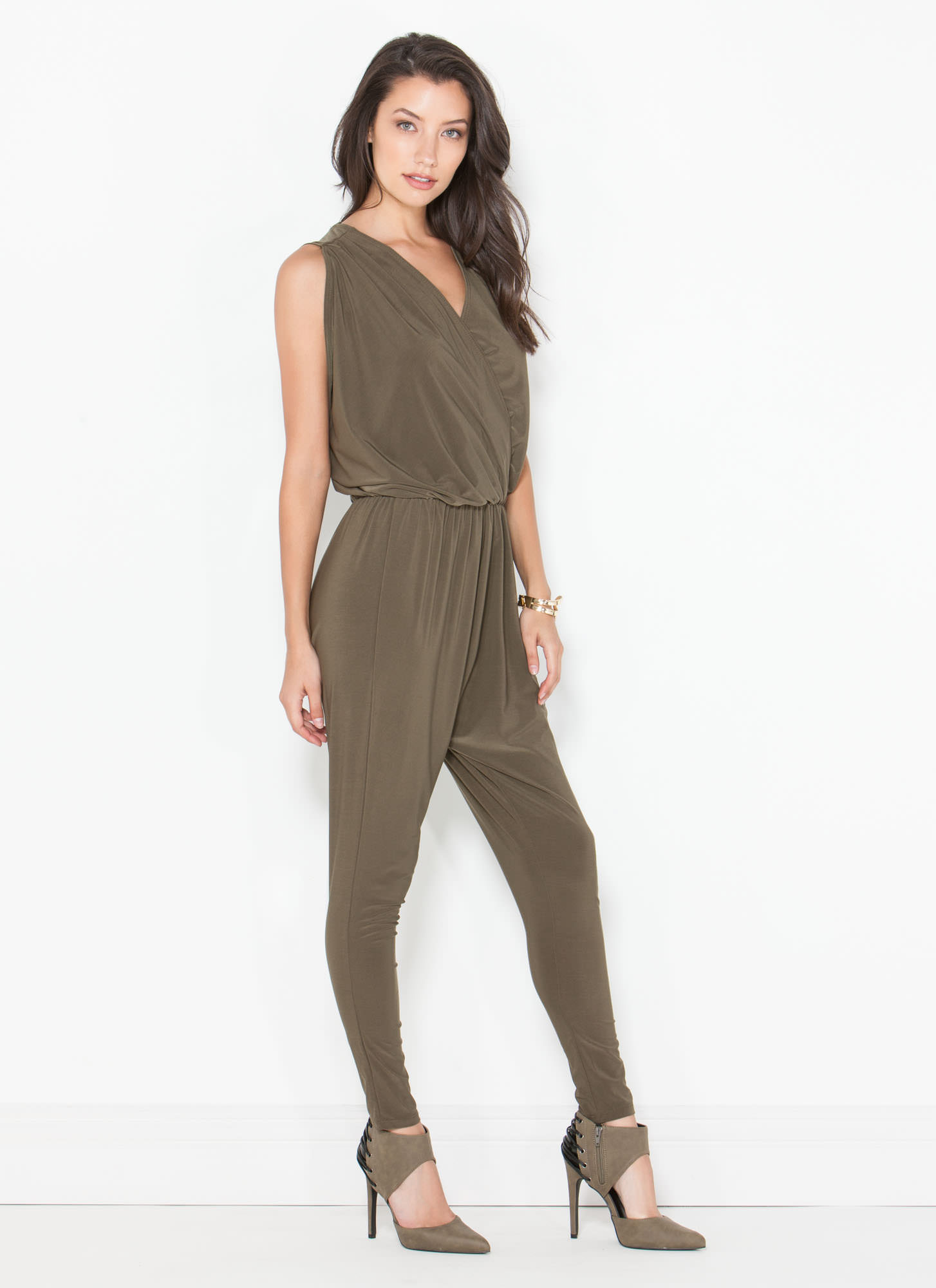 Game Changer Surplice Dolman Jumpsuit OLIVE