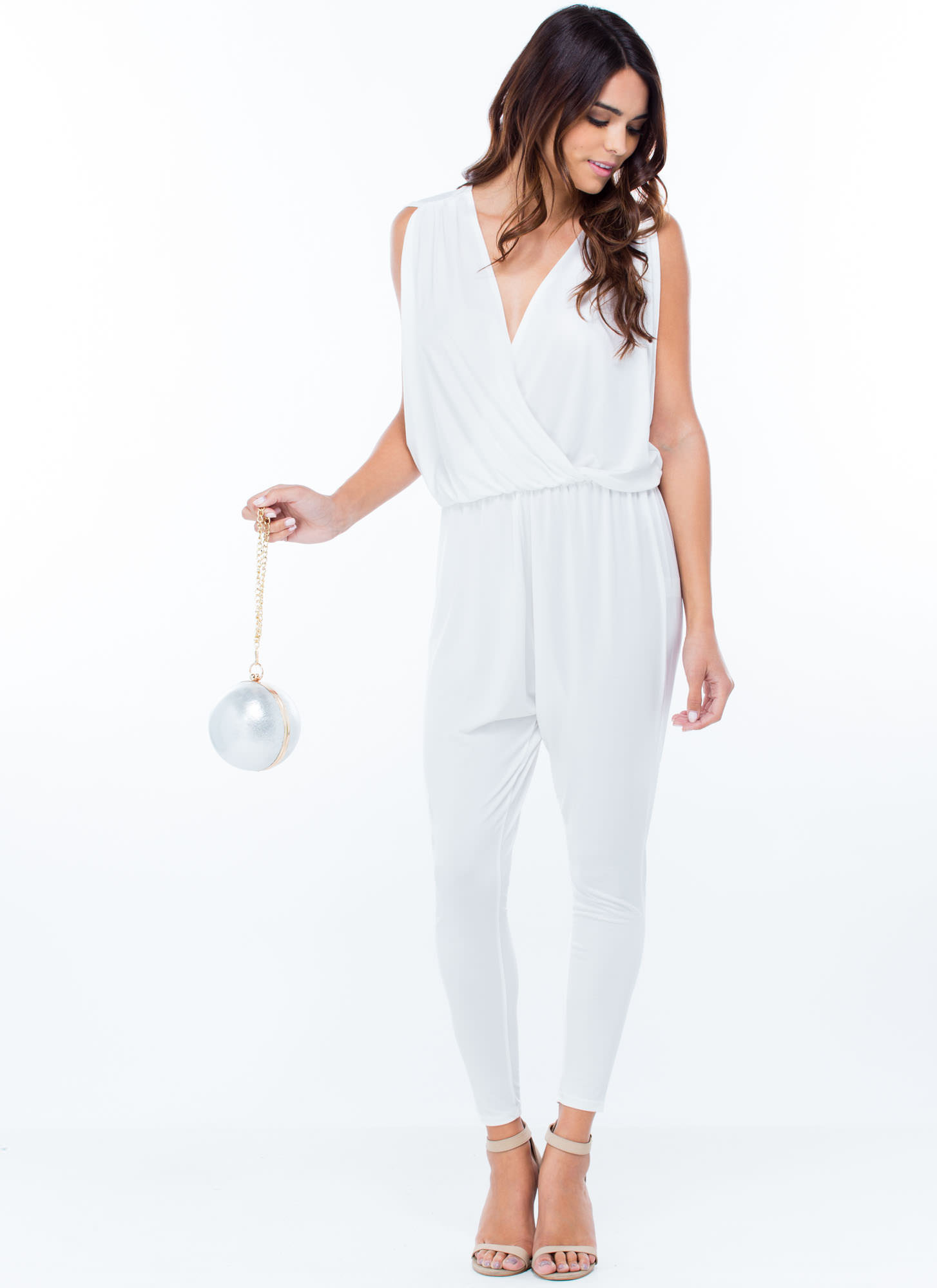 Game Changer Surplice Dolman Jumpsuit WHITE