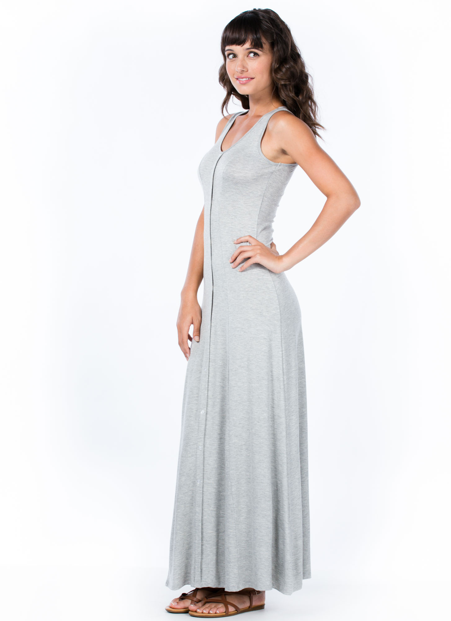 Button It Up Maxi Dress HGREY