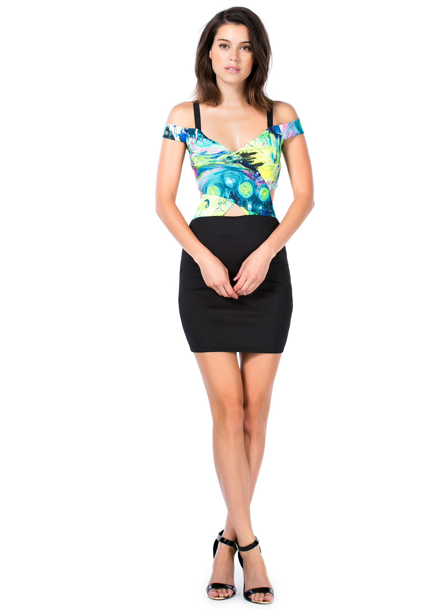 Can't Be Caged Watercolor Bodycon Dress BLACKMULTI