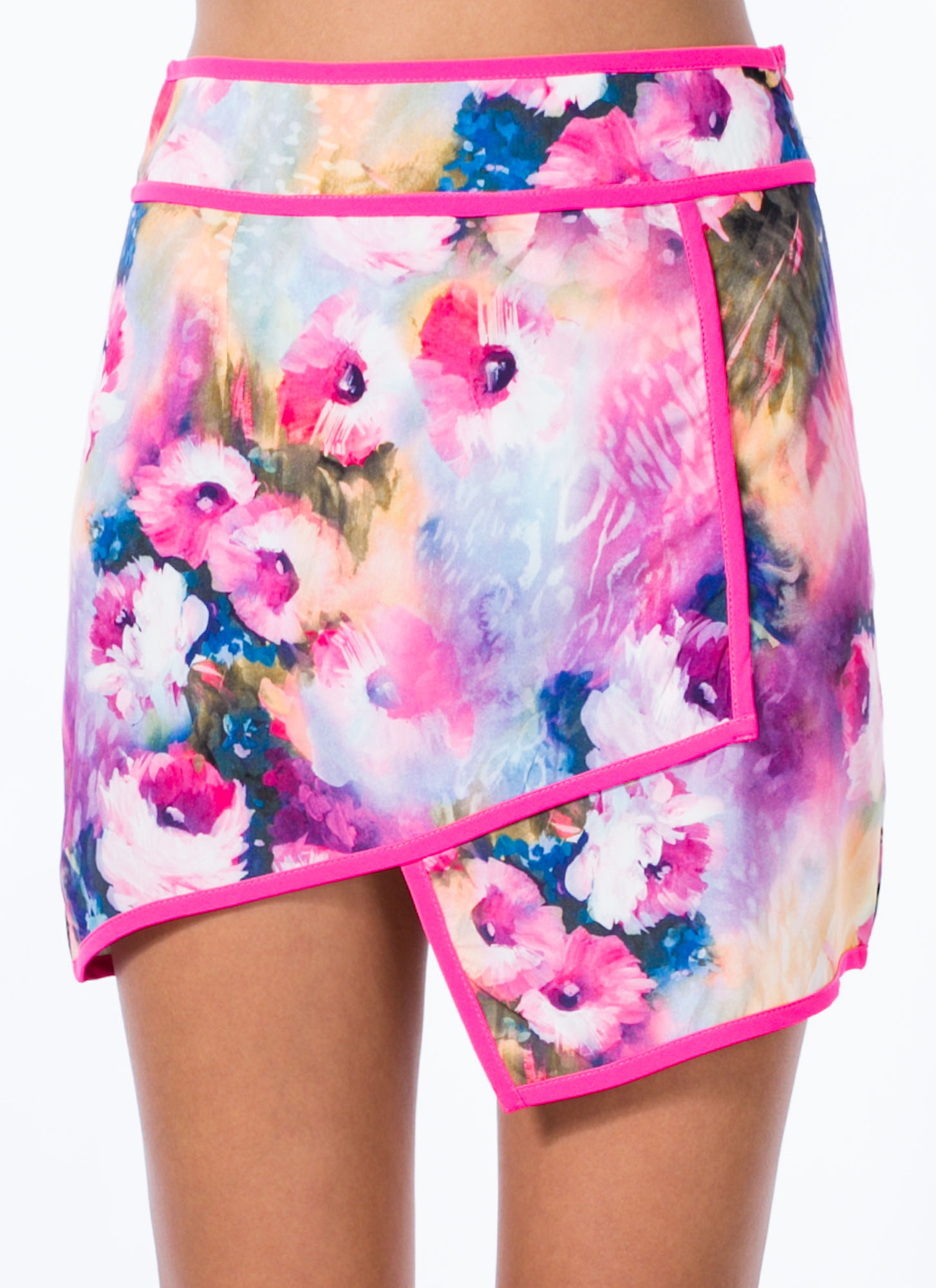 Origami Cut Watercolor Floral Skirt PINK