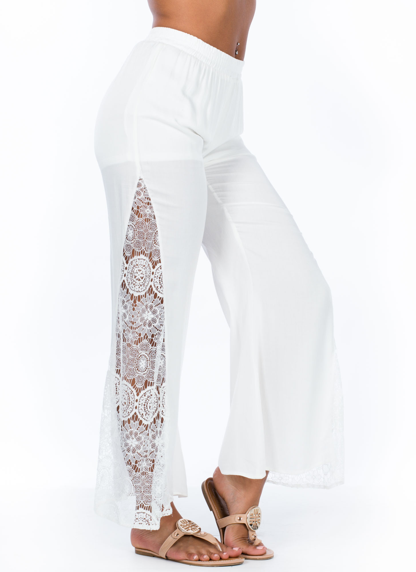 Floral Lace Inset Flared Pants WHITE