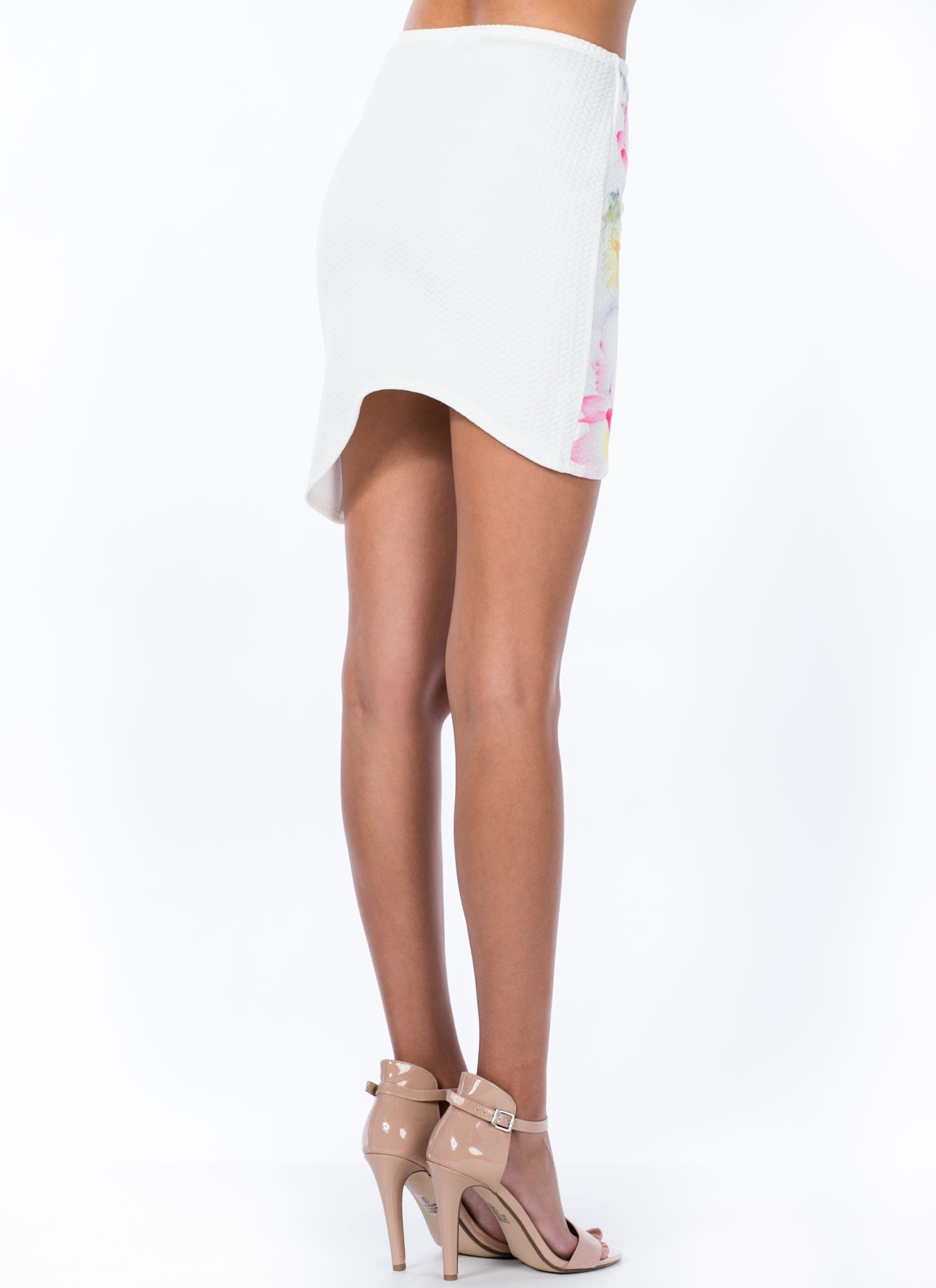Watercolored Floral Asymmetrical Skirt WHITE
