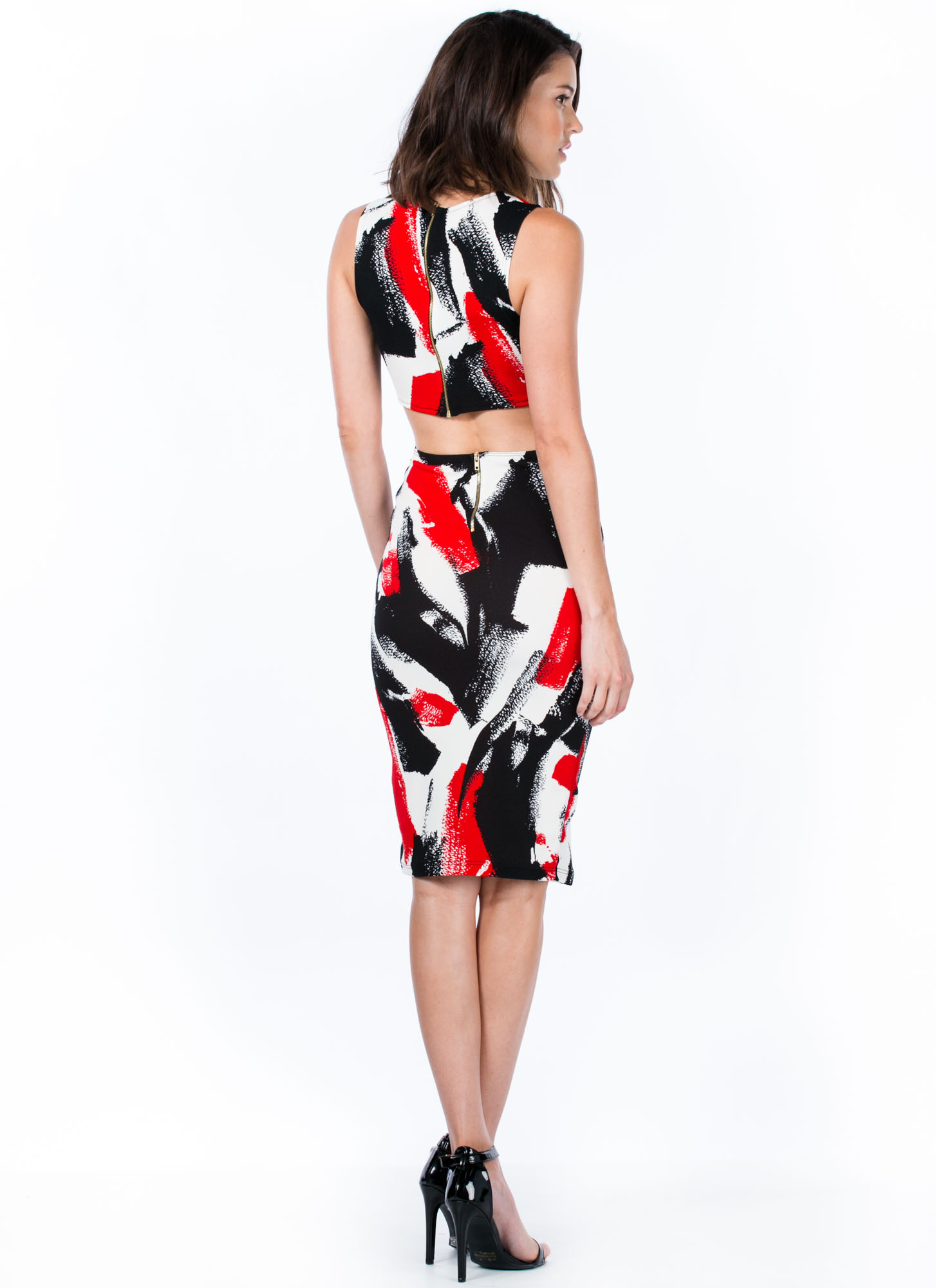 Magnified Brushstroke Cut-Out Dress RED