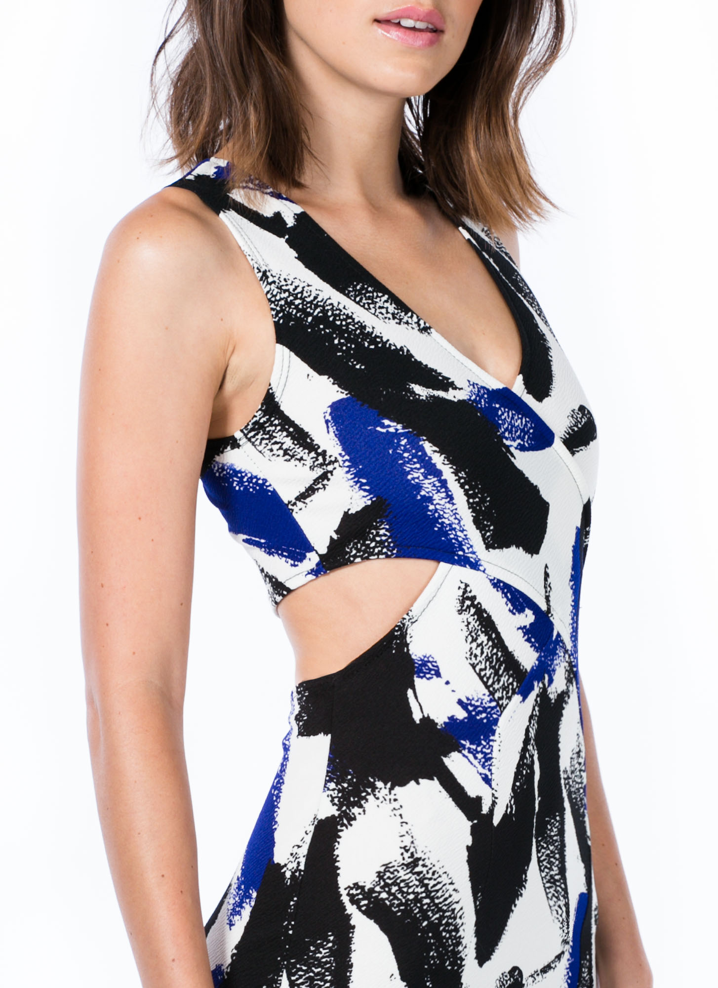 Magnified Brushstroke Cut-Out Dress ROYAL