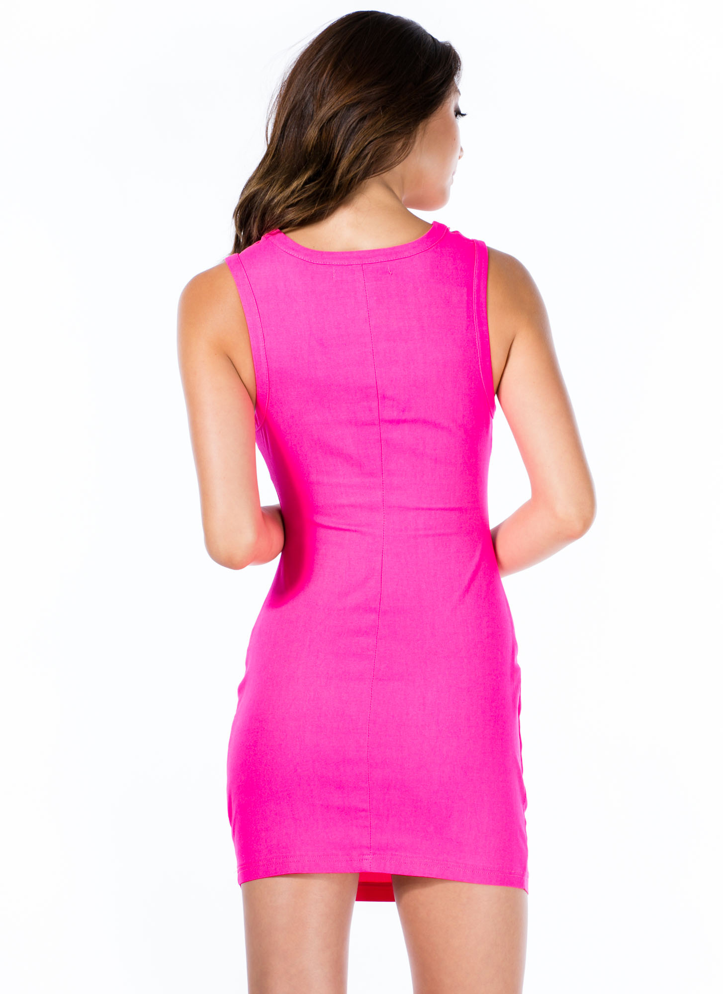 Ladder Up Strappy Caged Cut-Out Dress PINK