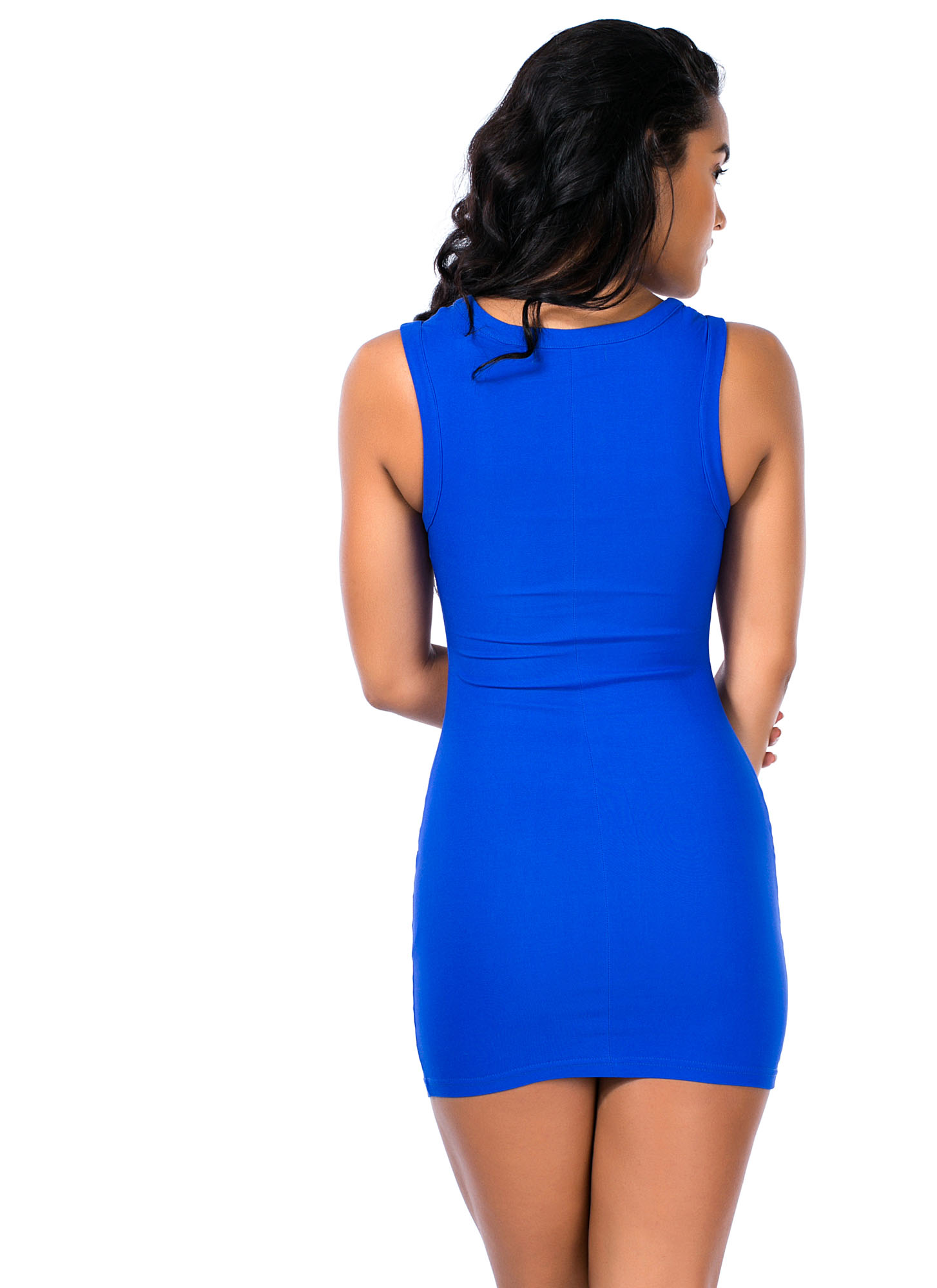 Ladder Up Strappy Caged Cut-Out Dress ROYAL