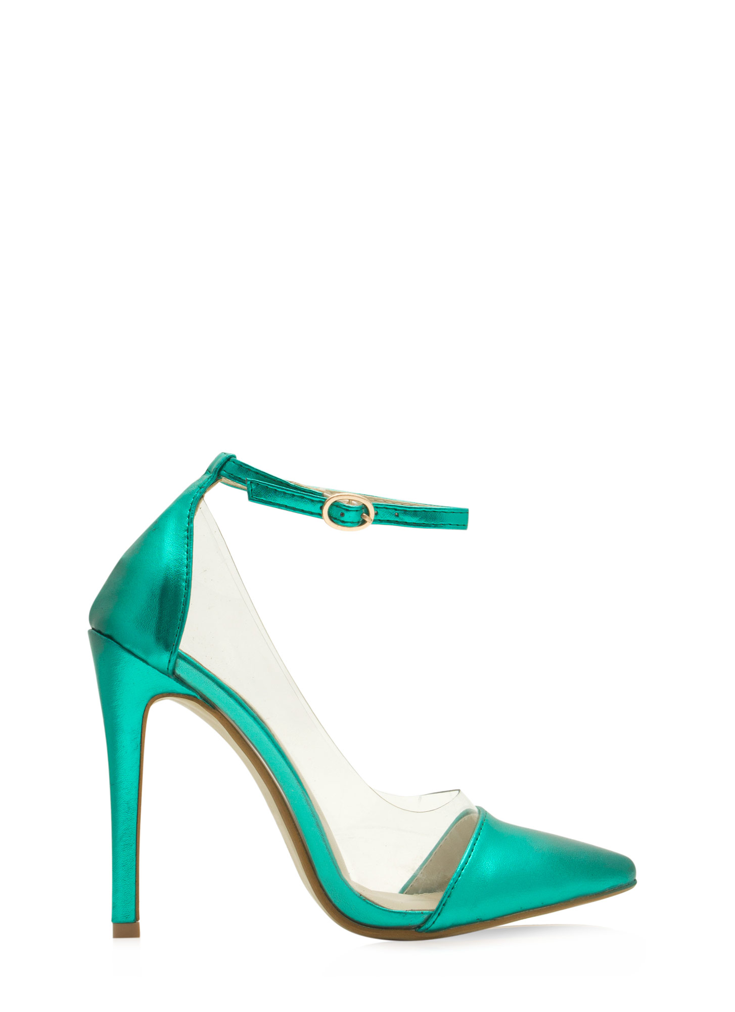 Clearly 4 U Ankle Strap Heels GREEN