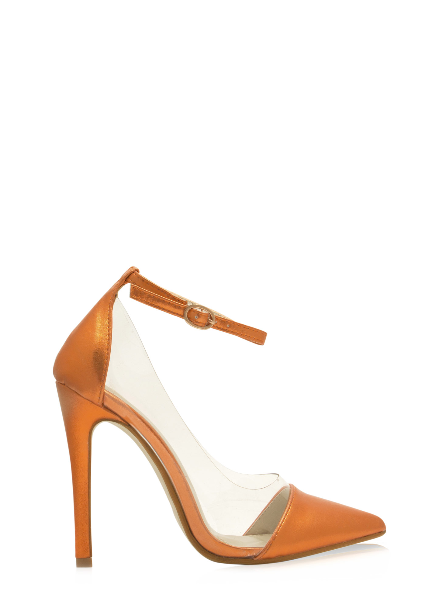 Clearly 4 U Ankle Strap Heels ORANGE