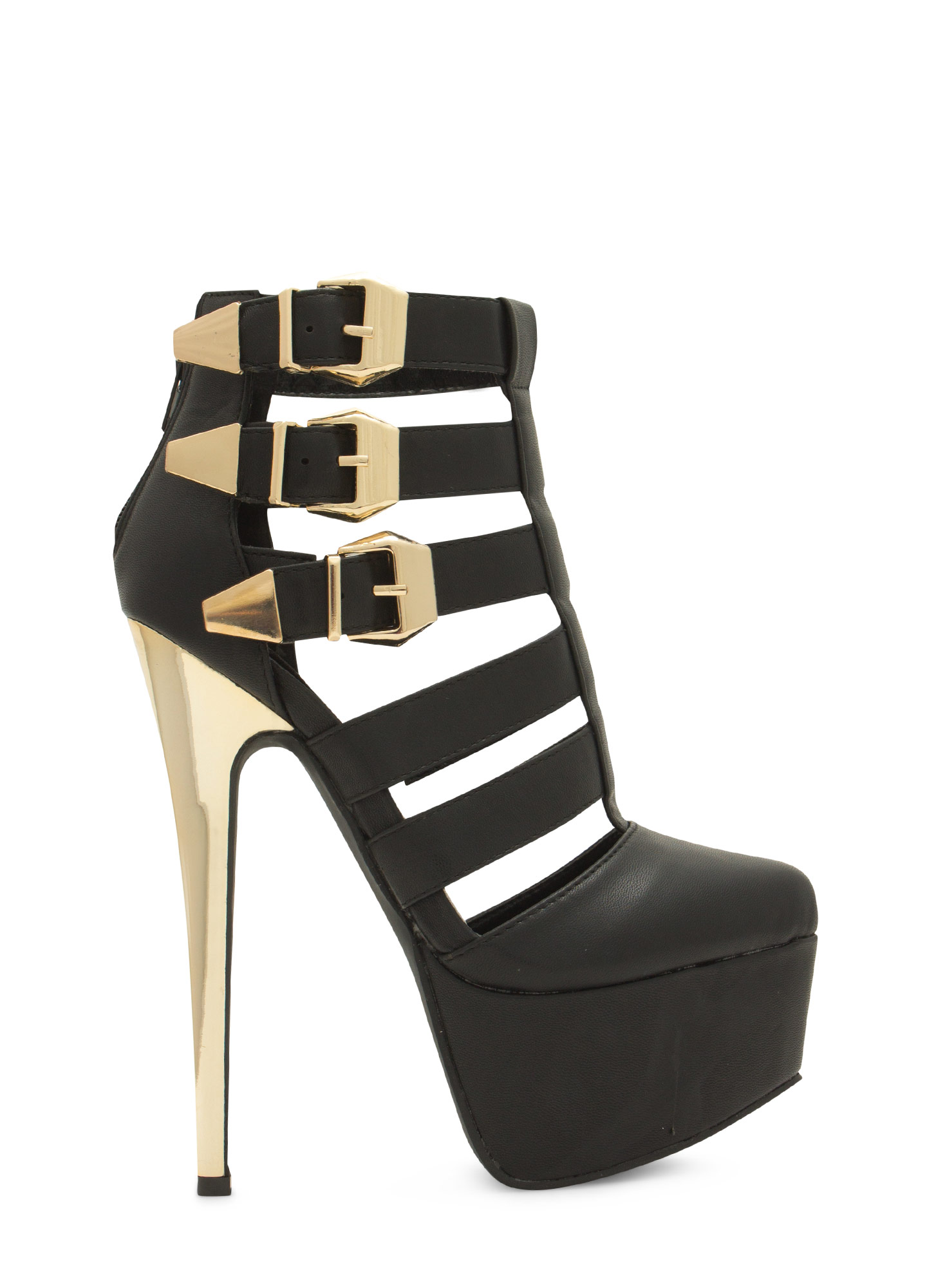 Laddered Tri-Buckle Heels BLACK