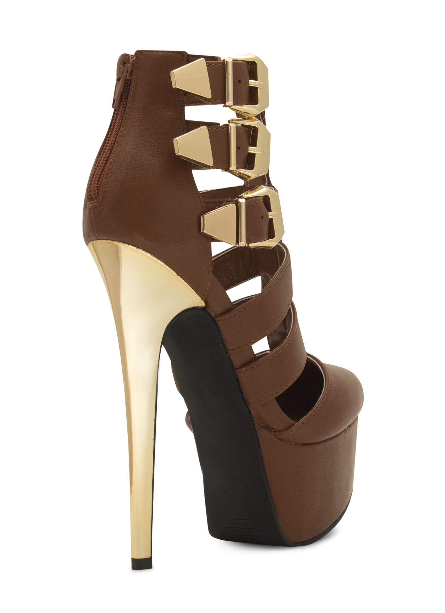 Laddered Tri-Buckle Heels LTBROWN