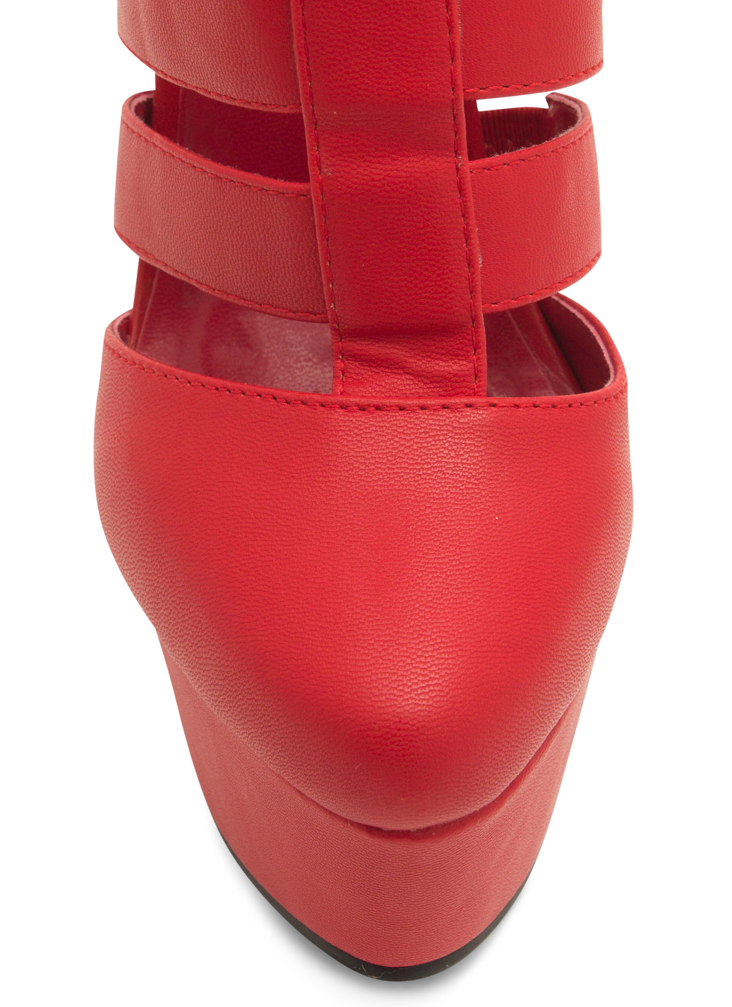 Laddered Tri-Buckle Heels RED