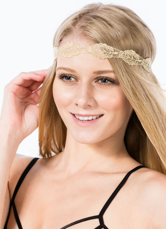 Metallic Embroidered Leaf Headband GOLDBLACK