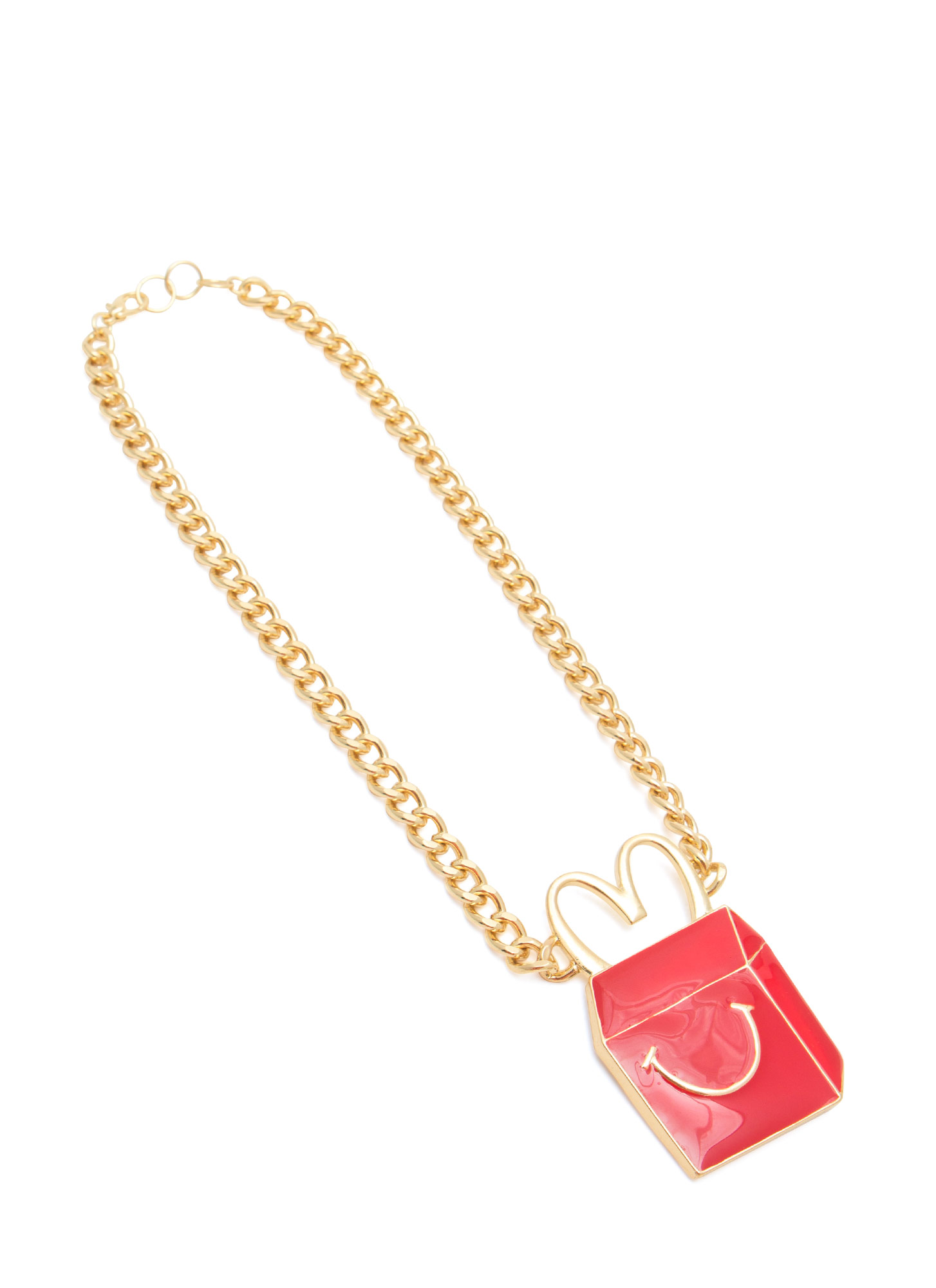 Happy Kids' Meal Carton Necklace REDGOLD
