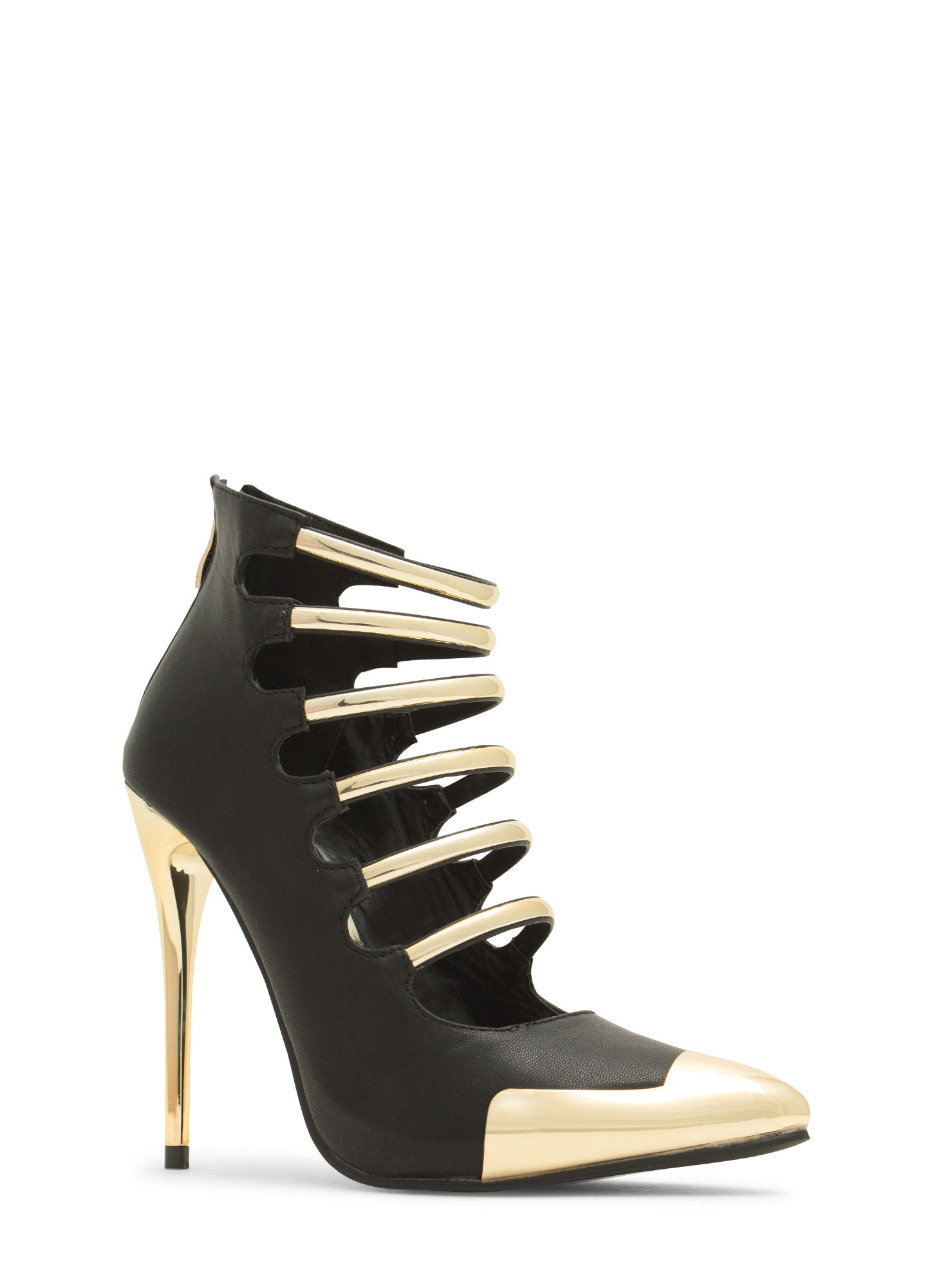Laddered Gleam Capped Heels BLACK